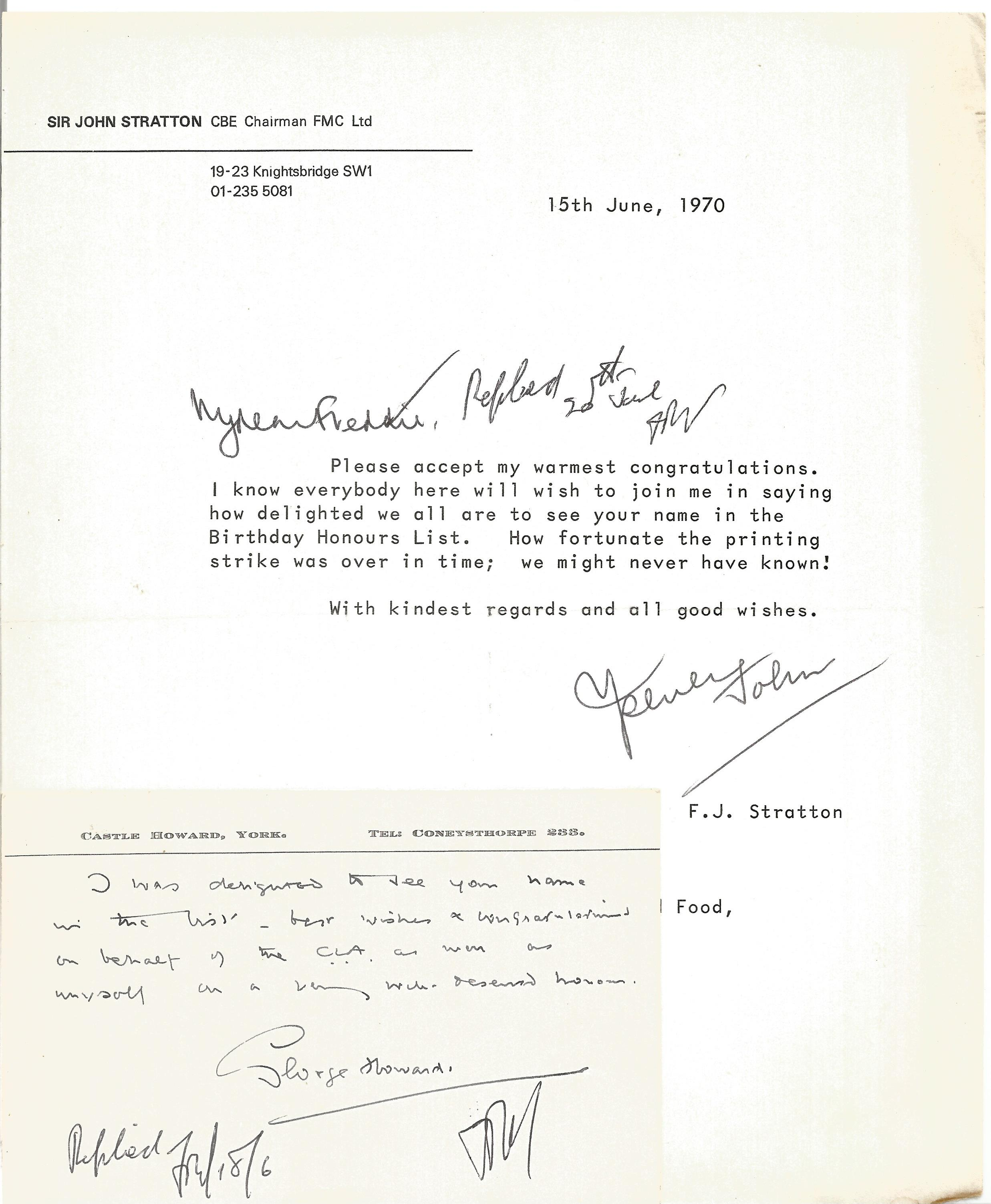 Correspondence collection of mostly signed letters to Mr F Kearns congratulating Him for receiving a - Image 5 of 5