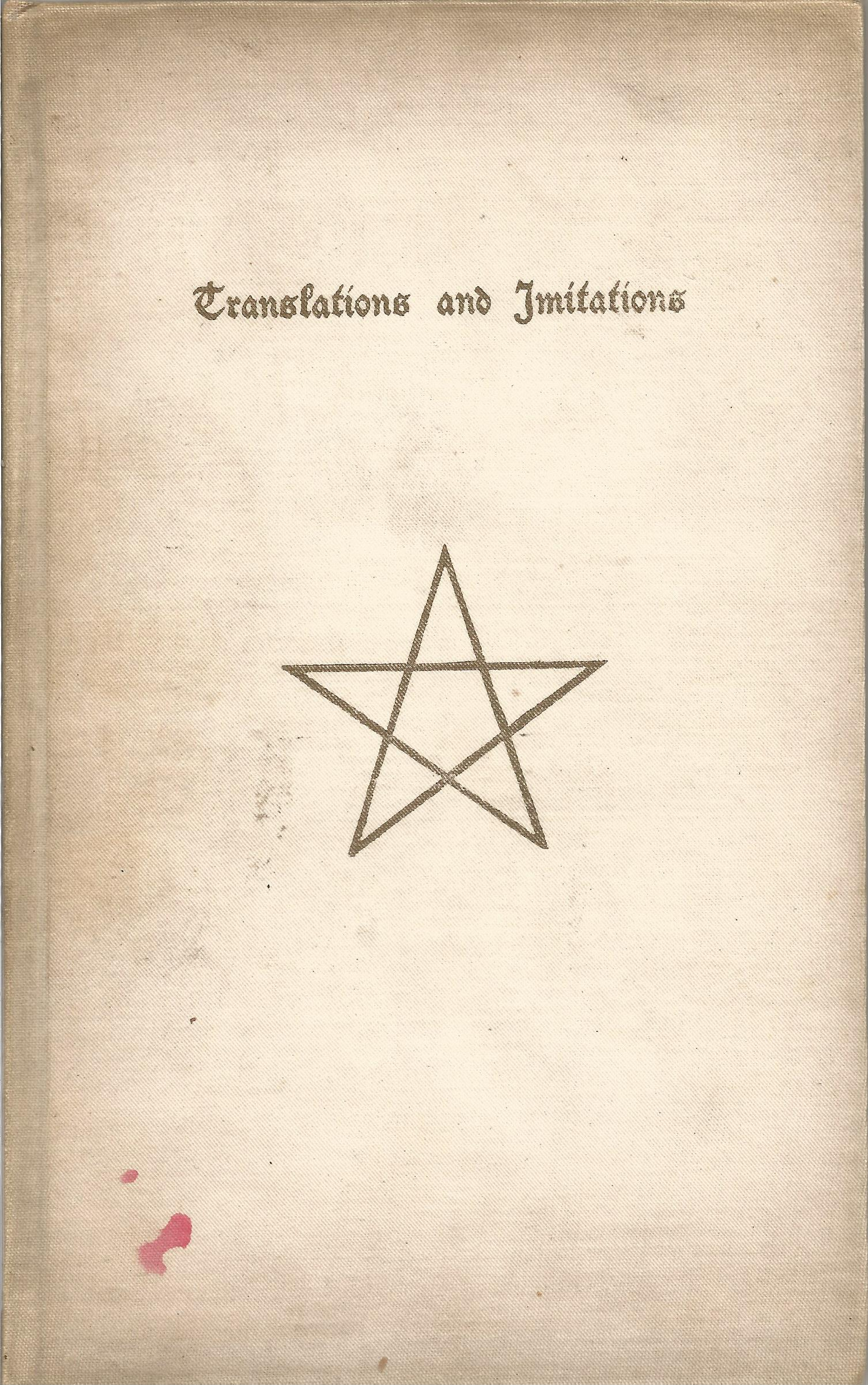 Translations and Imitations by Patch L B Courtney with initialled inscription LBC dated 1892,