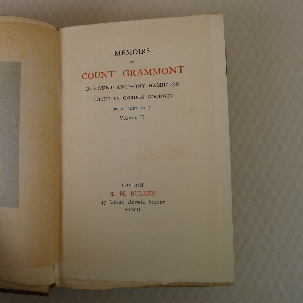 Memoirs of Count Grammont in two volumes by Count Anthony Hamilton with portraits, published by A - Image 6 of 8