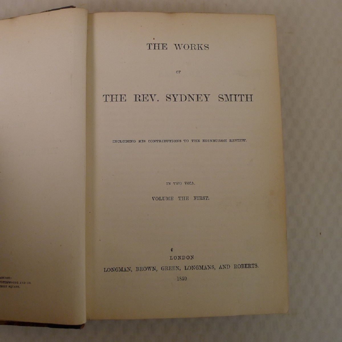 The works of the Rev. Sydney Smith including his contributions to the Edinburgh Review published - Image 4 of 5