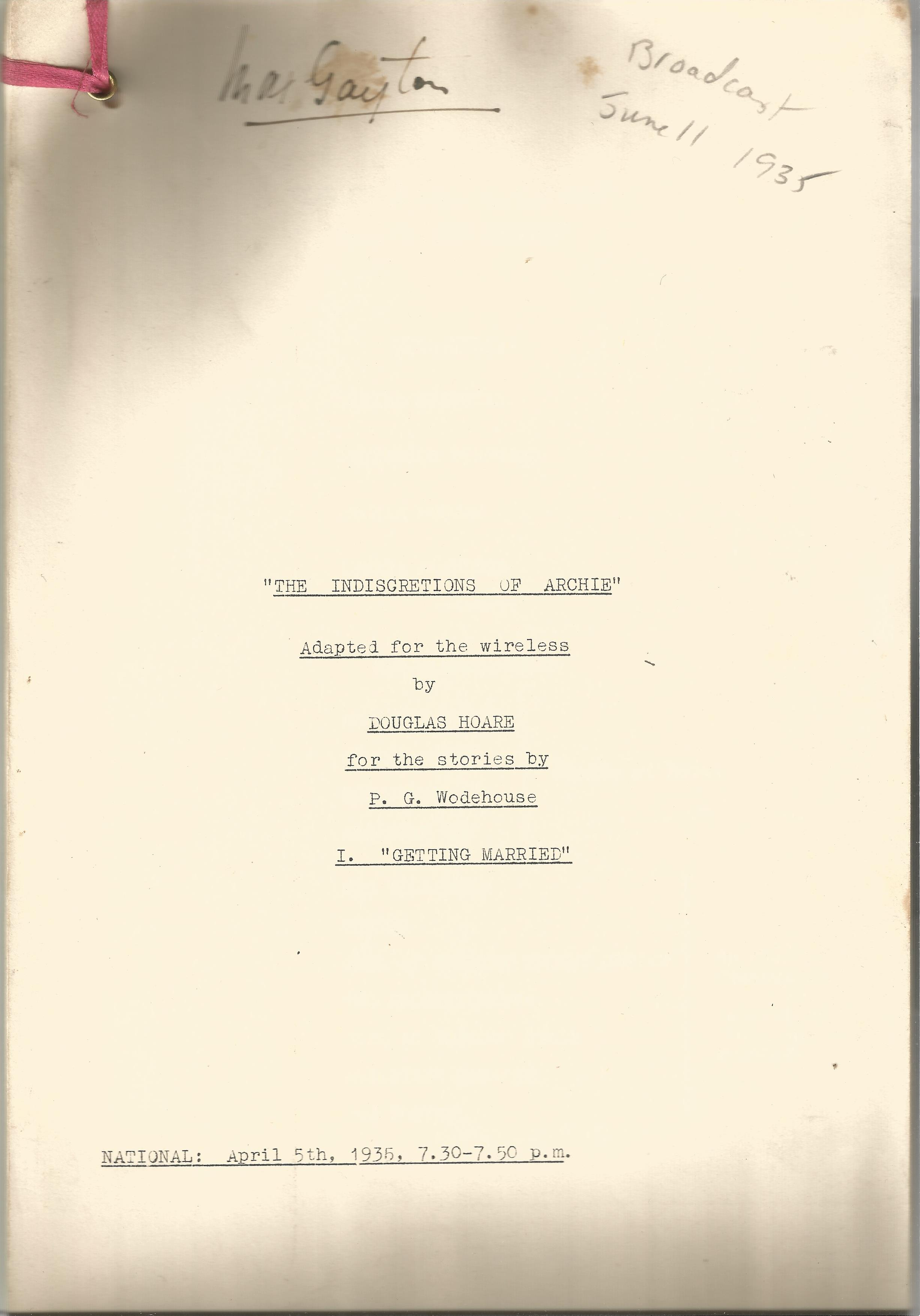Radio Broadcast Script The Indiscretions of Archie adapted by Douglas Hoare 1935 Signed by Max