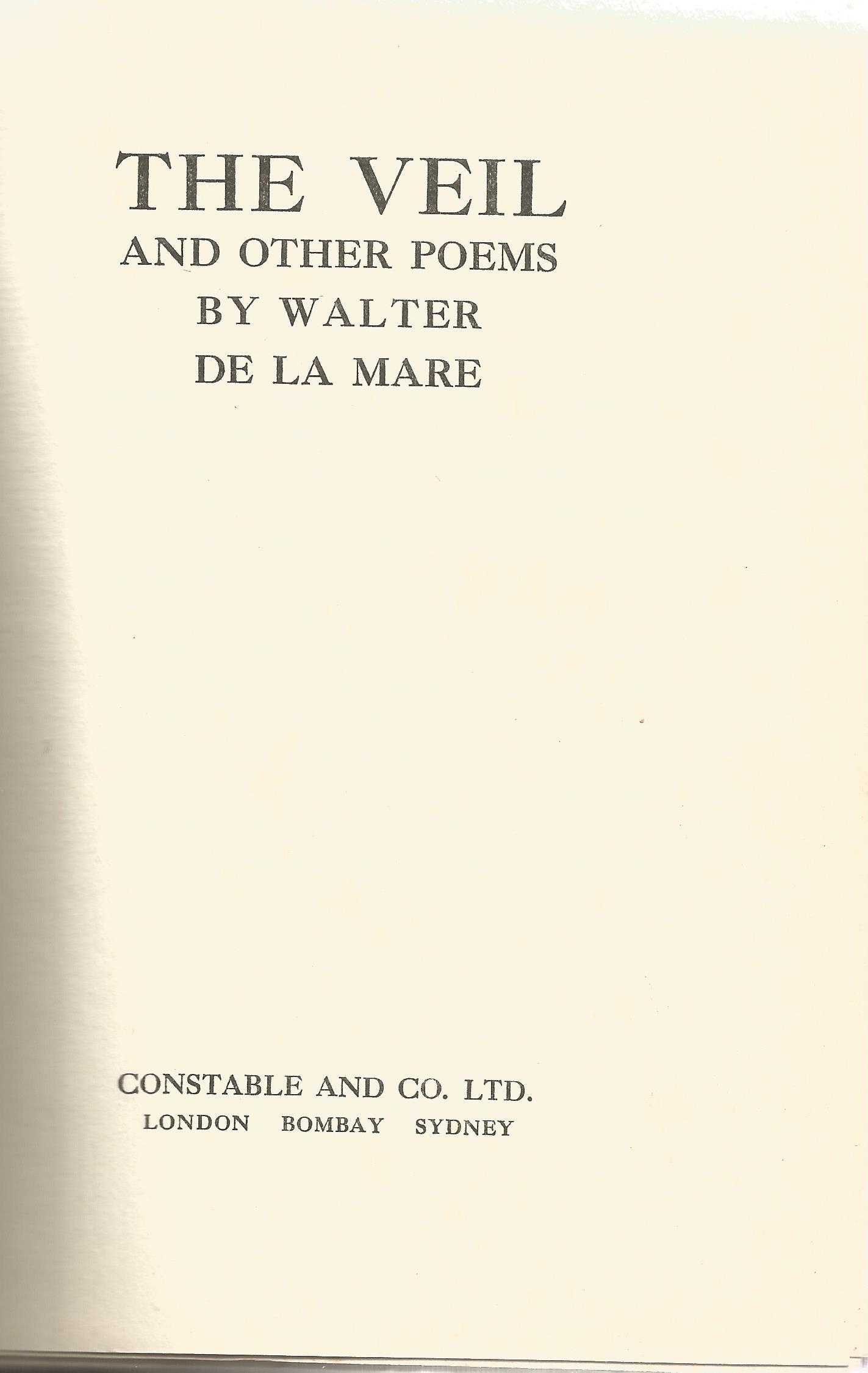Signed Hardback Book The Veil And other Poems by Walter De La Mare dedicated & Initialled W D M - Image 2 of 4