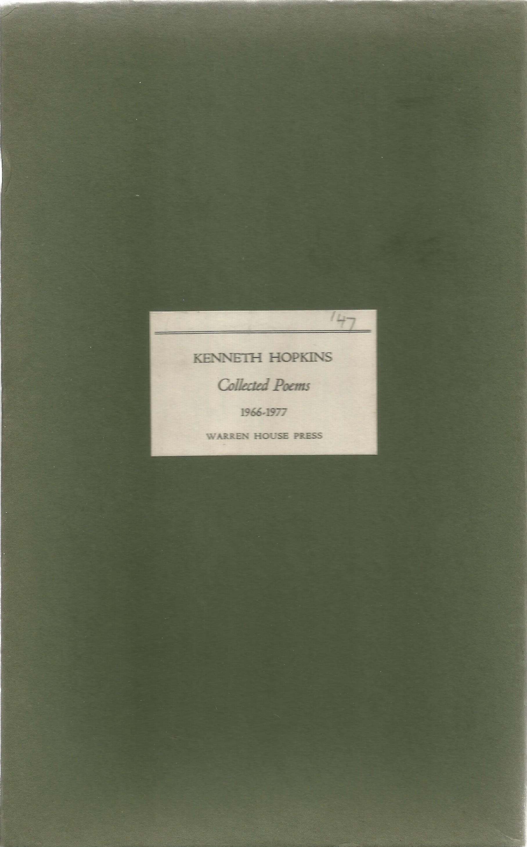 Kenneth Hopkins Hardback Book Collected Poems signed by the Author on the Title Page First Edition