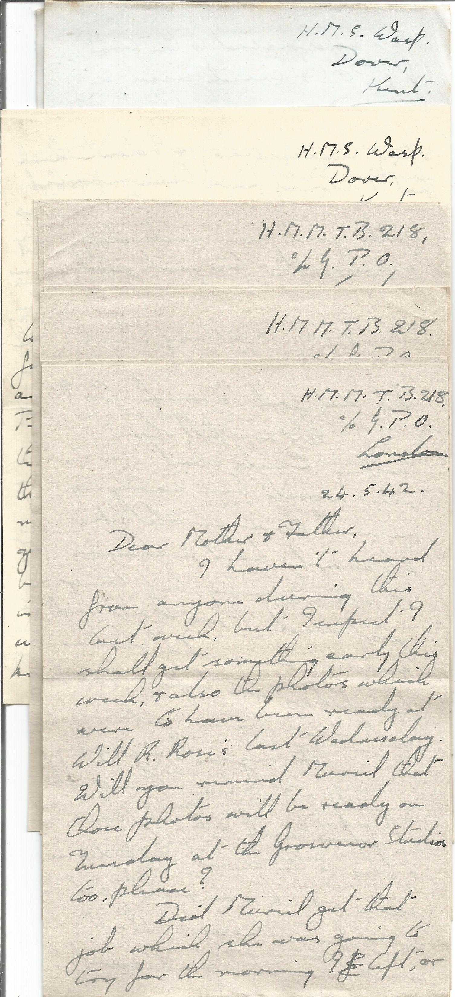 14 Hand written Letters from a Crew Member of H. M. Motor Torpedo Boat 218 with Interesting Content, - Image 4 of 4