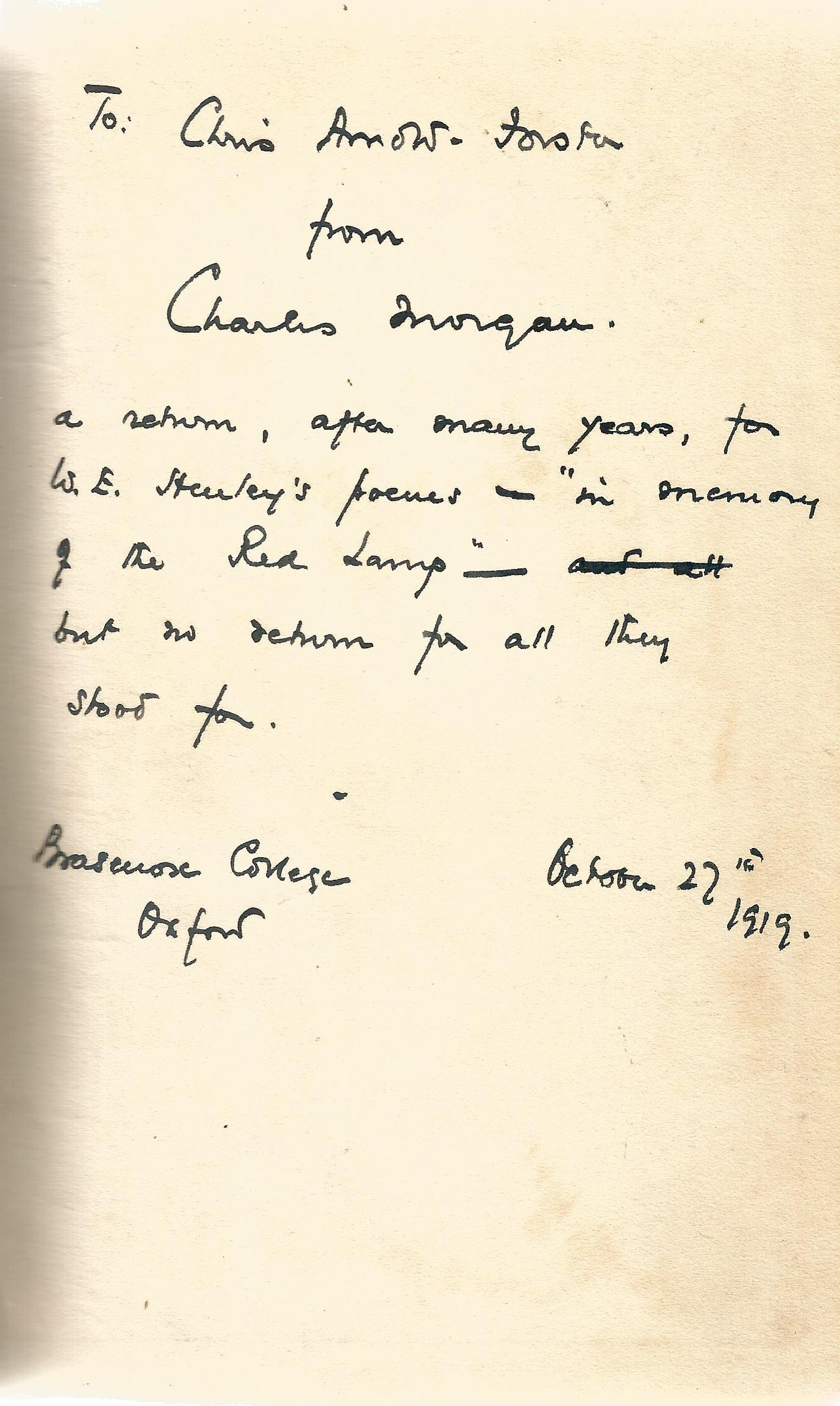 Signed Hardback Book The Gunroom by Charles Langbridge Morgan 1919 First Edition published by A C - Image 3 of 3