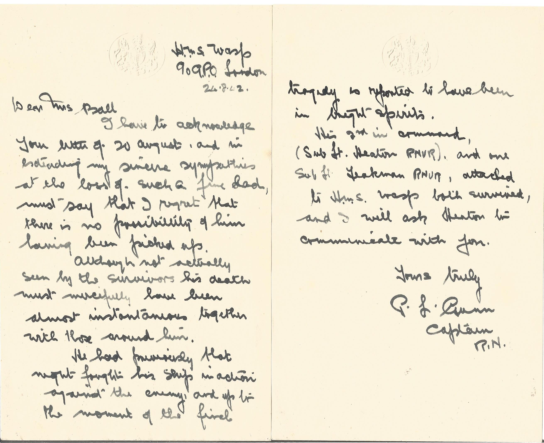 Signed Hand written letter from Captain Phillip Leonard Gunn H.M.S. Wasp 1942 Sympathising for the