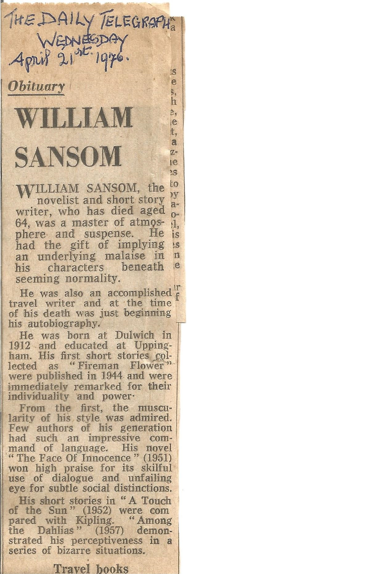 William Sansom Hardback Book A Touch of the Sun 1952 signed by the Author on the Title Page some - Image 3 of 3