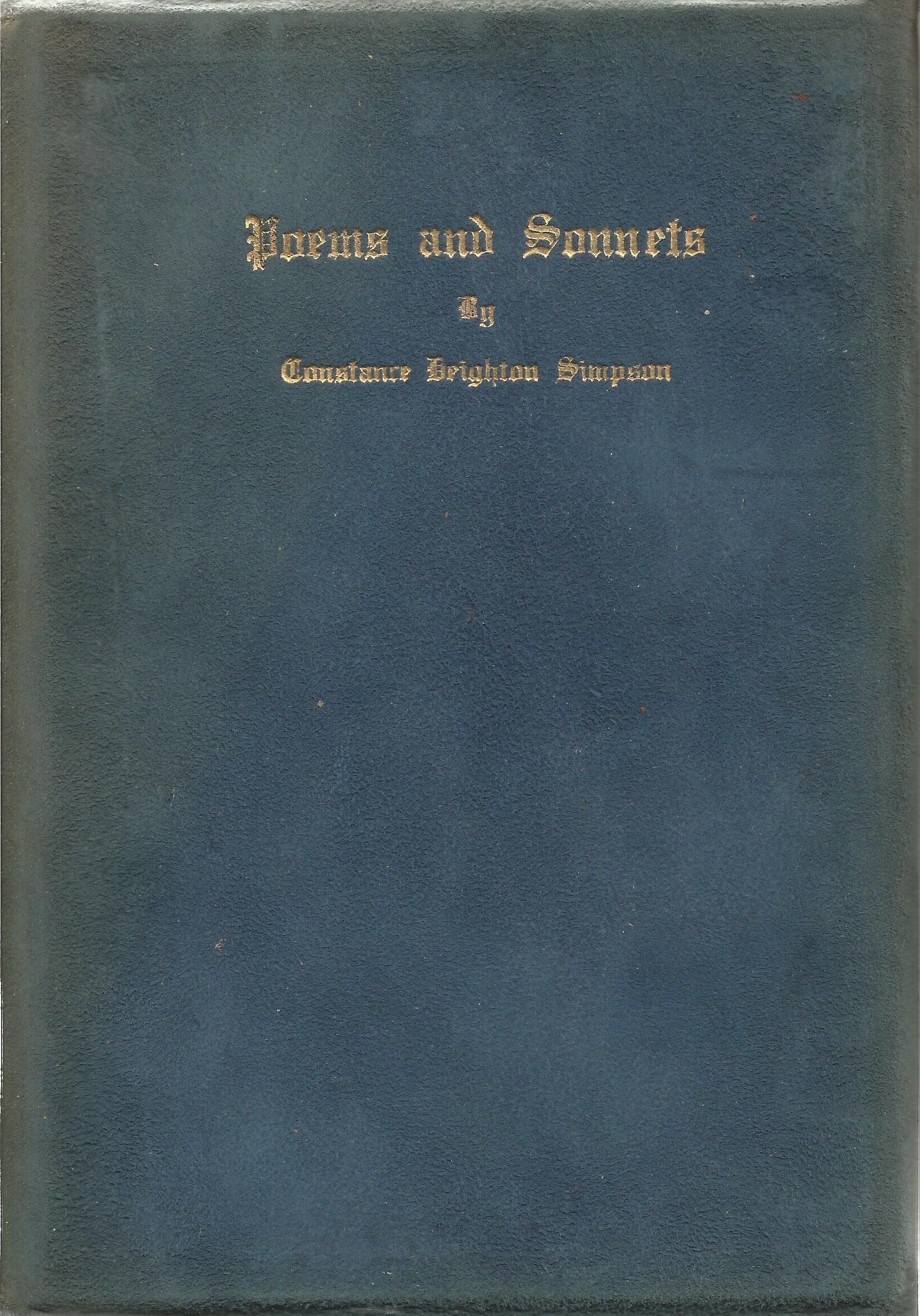 Constance Deighton Simpson Rare Suedex Cloth backed Book with Gold Lettering Poems and Sonnets