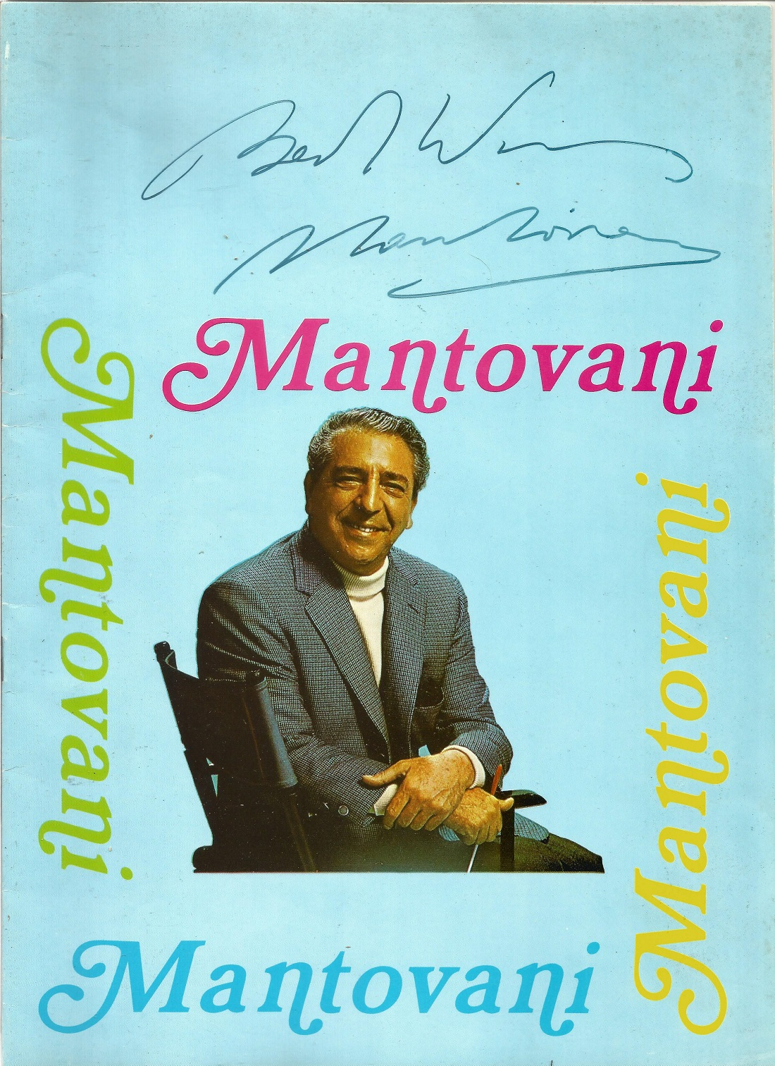 Signed Mantovani In House Brochure 1969 from a performance at Eastbourne Ticket stubs & Decca - Image 2 of 4