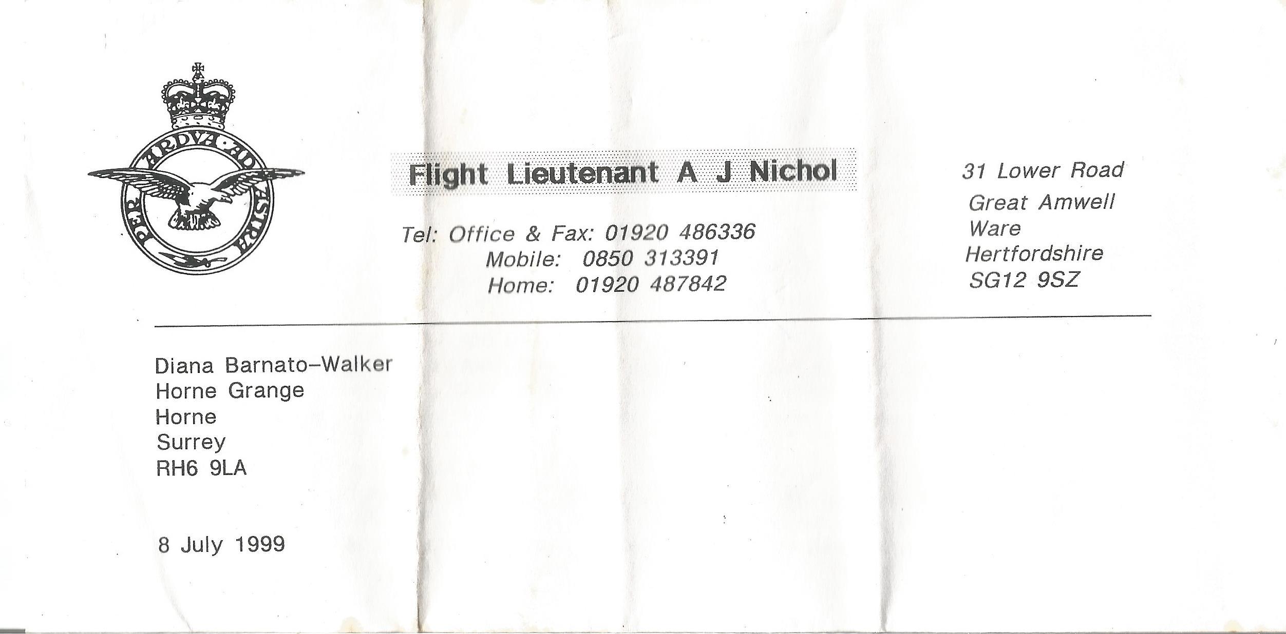 RAF Flight Lieutenants John Peters and John Nichol Paperback Book Tornado Down signed by John Nichol - Image 3 of 3