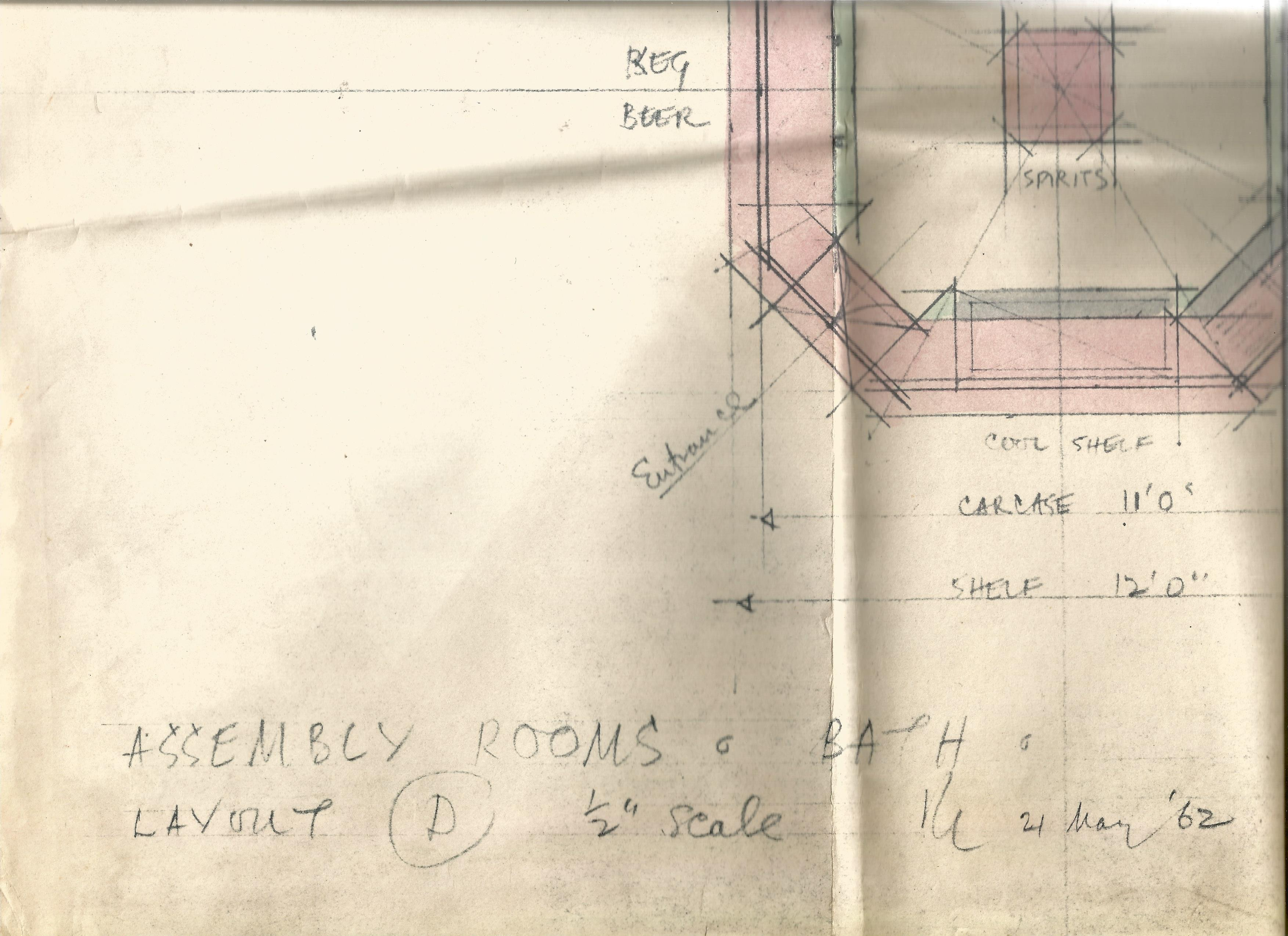 Architectural Drawings & Diagrams for Alterations at Bath Assembly Rooms in the 1960s Includes - Image 8 of 16