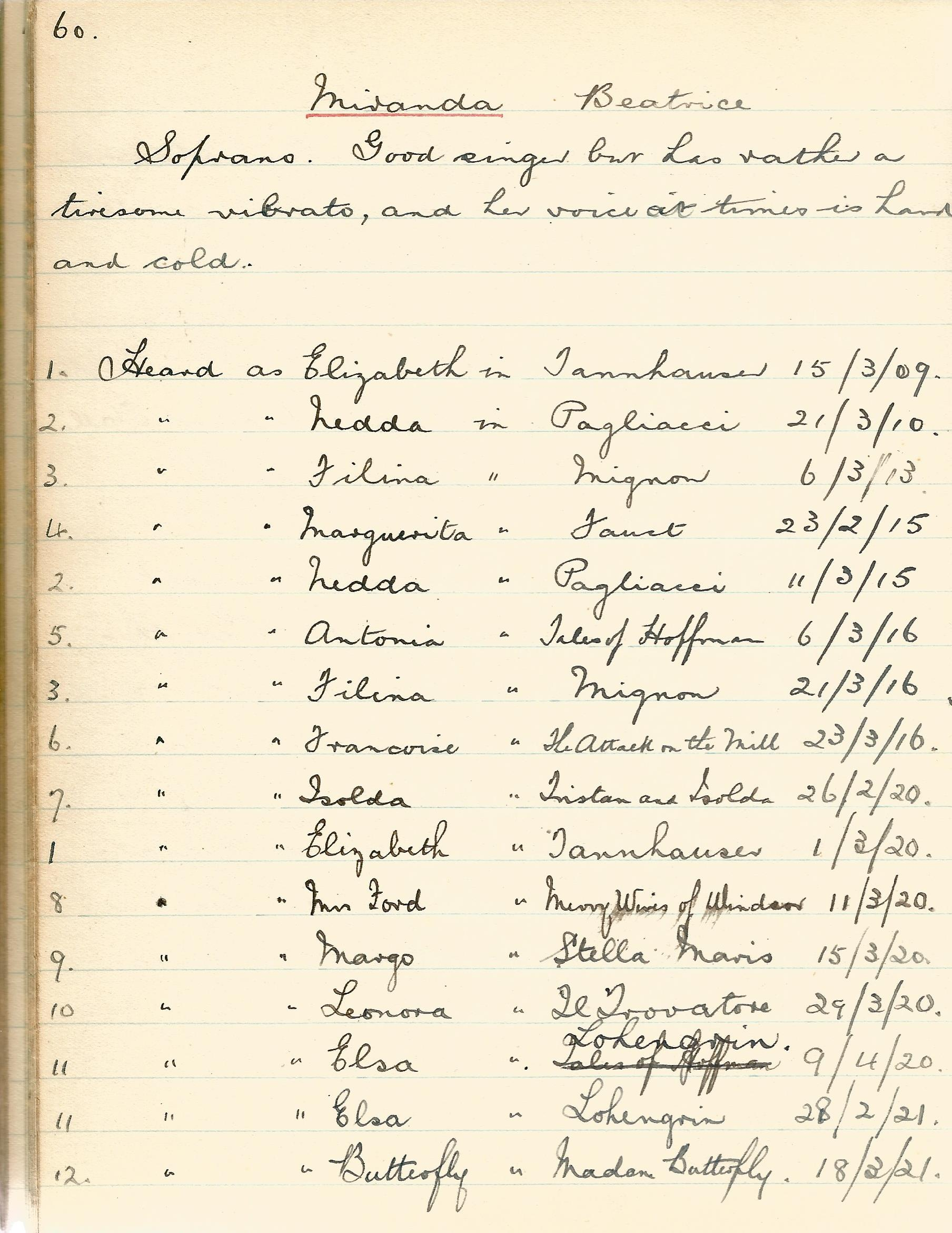 Diary Notebook of Music Opera, Pianists, Violinists, Vocalists, Organists, Operas & Orchestras - Image 5 of 6