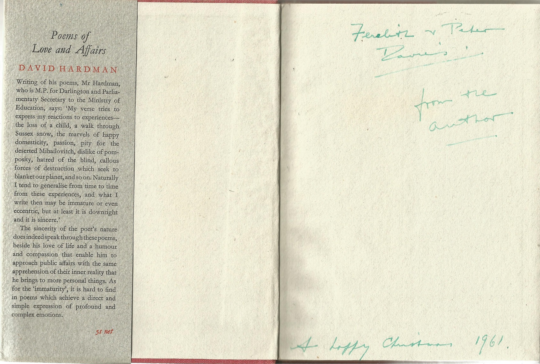 David Hardman Hardback Book Poems of Love and Affairs signed by the Author on the Title Page dated - Image 2 of 3