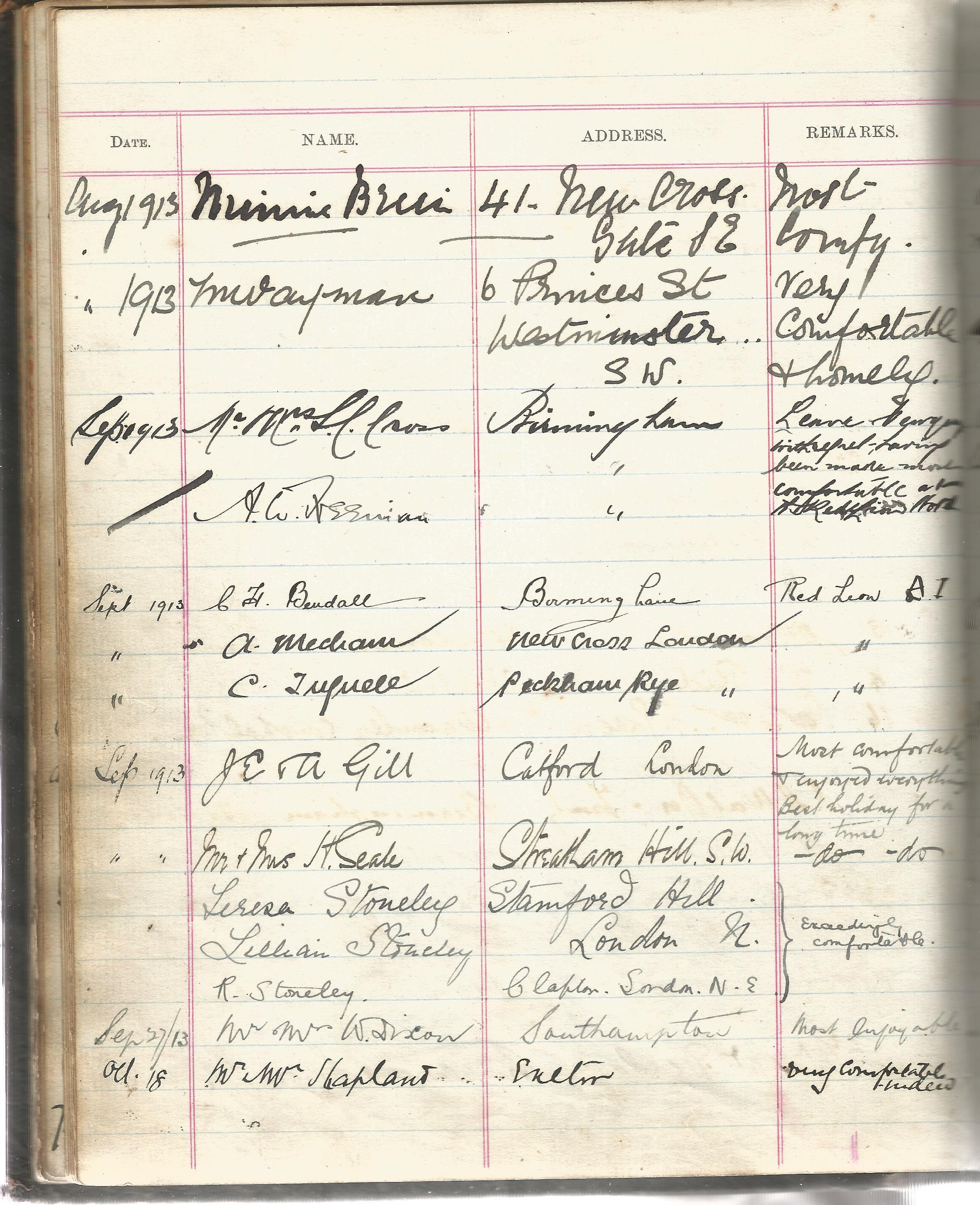 Visitors Book Red Lion Hotel Newquay with dates and Name & Address of their guests 1903 1930 at - Image 3 of 8