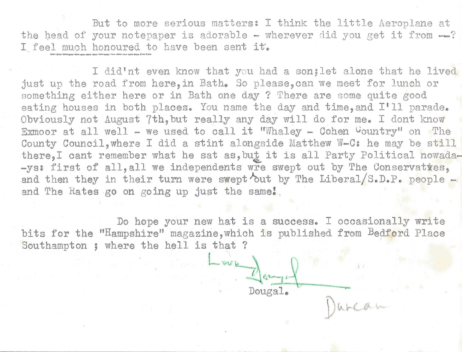 Dougal Duncan Paperback Book Somerset the unknown County signed by the Author on the First Page - Image 3 of 3