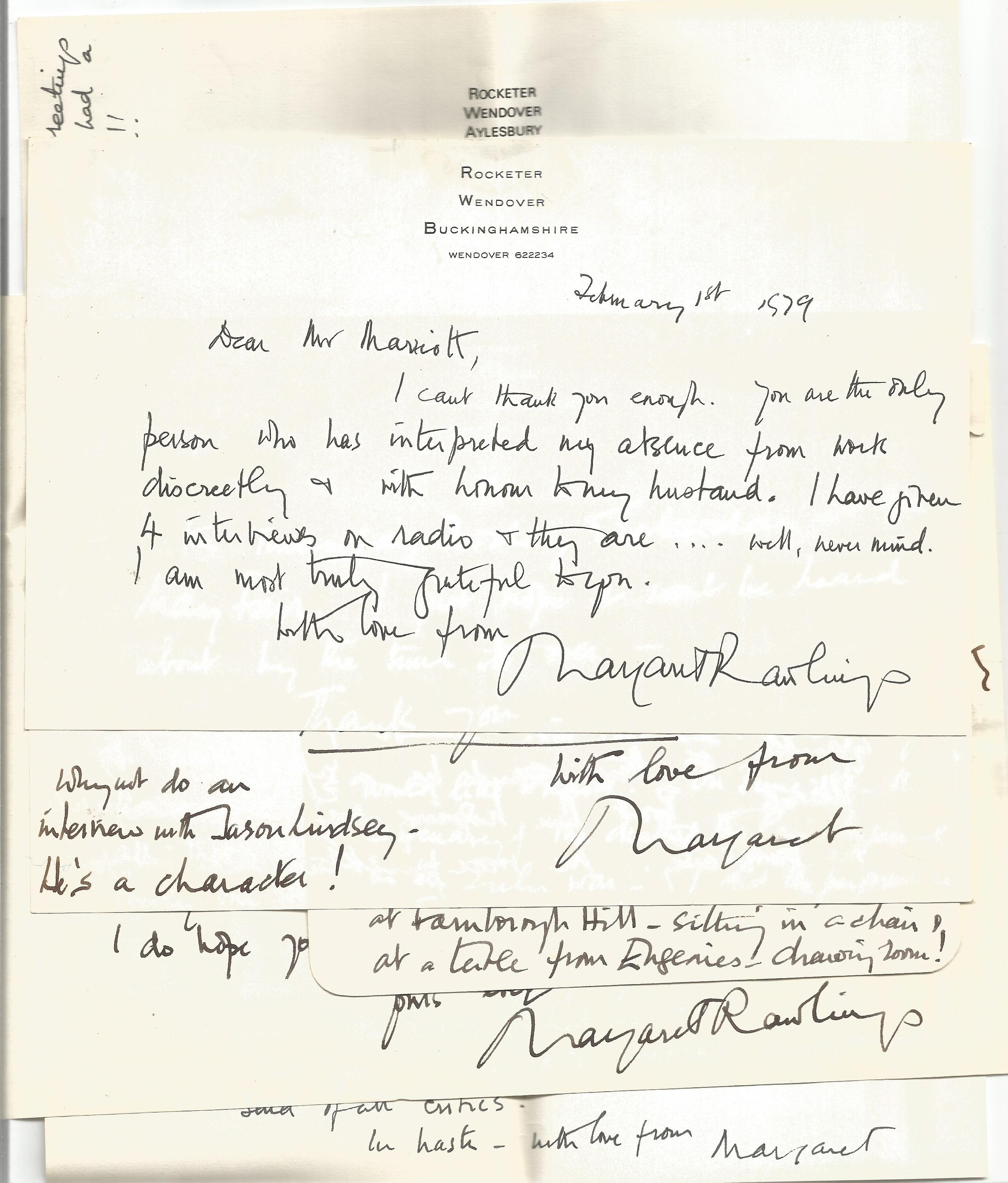 R B Marriott Correspondence collection 8 x Signed letters Margaret Rawlings, 1 Typed letter Sir