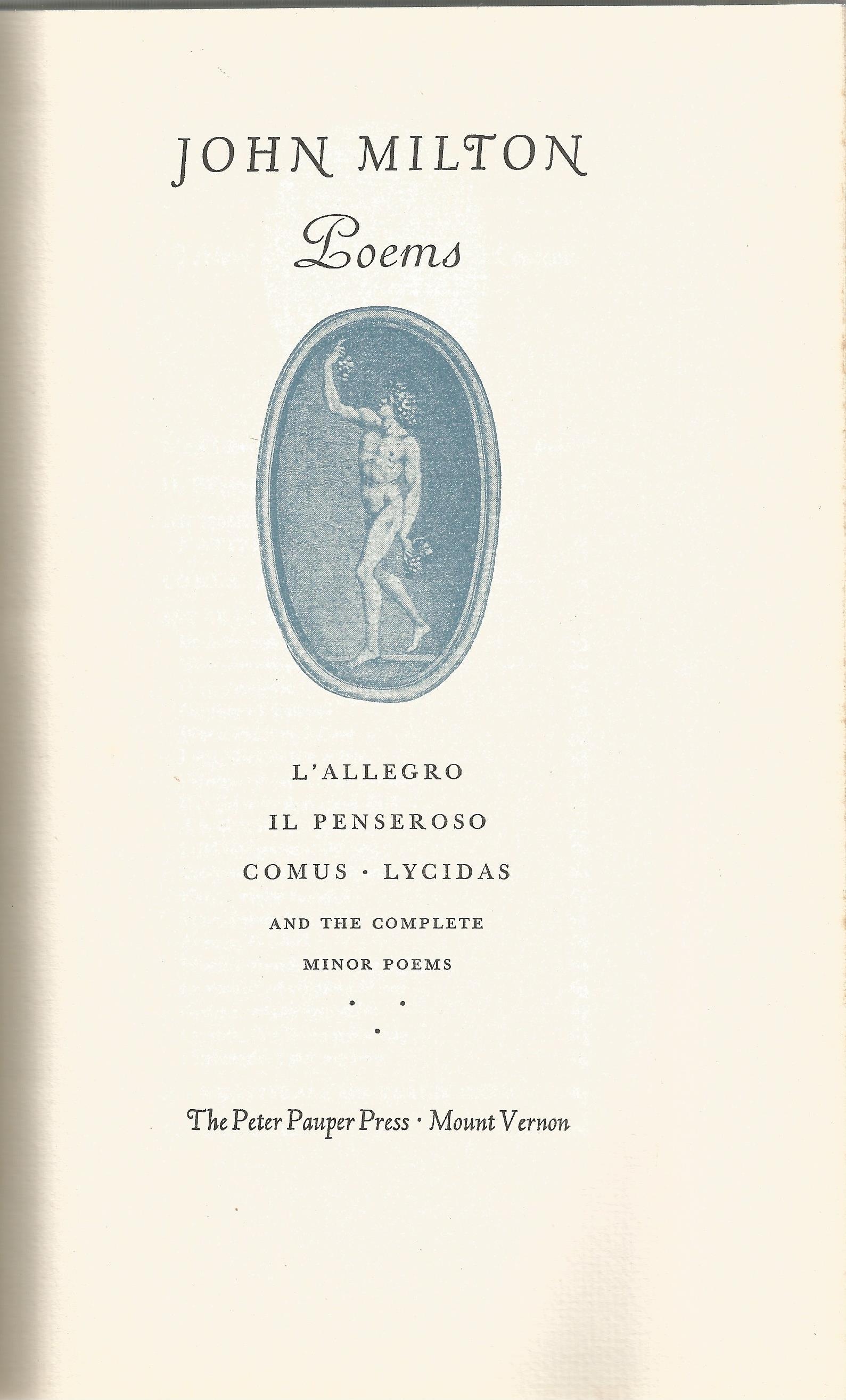 Hardback Book John Milton Poems L'Allegro, Il Penseroso, Comus Lycidas published by The Peter Pauper - Image 2 of 3