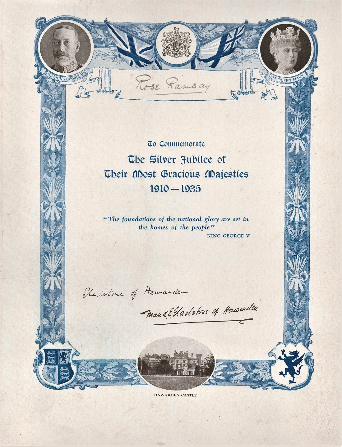 Certificate to Commemorate The Silver Jubilee of King George V & Queen Mary 1910 1935 printed - Image 2 of 2