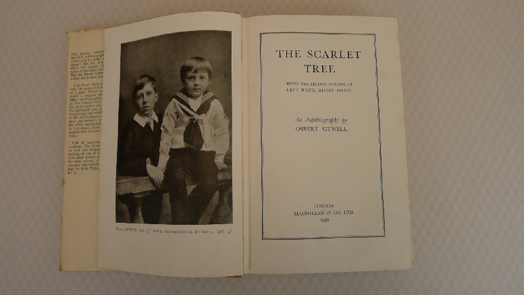 The Scarlet Tree by Osbert Sitwell published by MacMillan London 1946, First Edition hardback, - Image 3 of 3