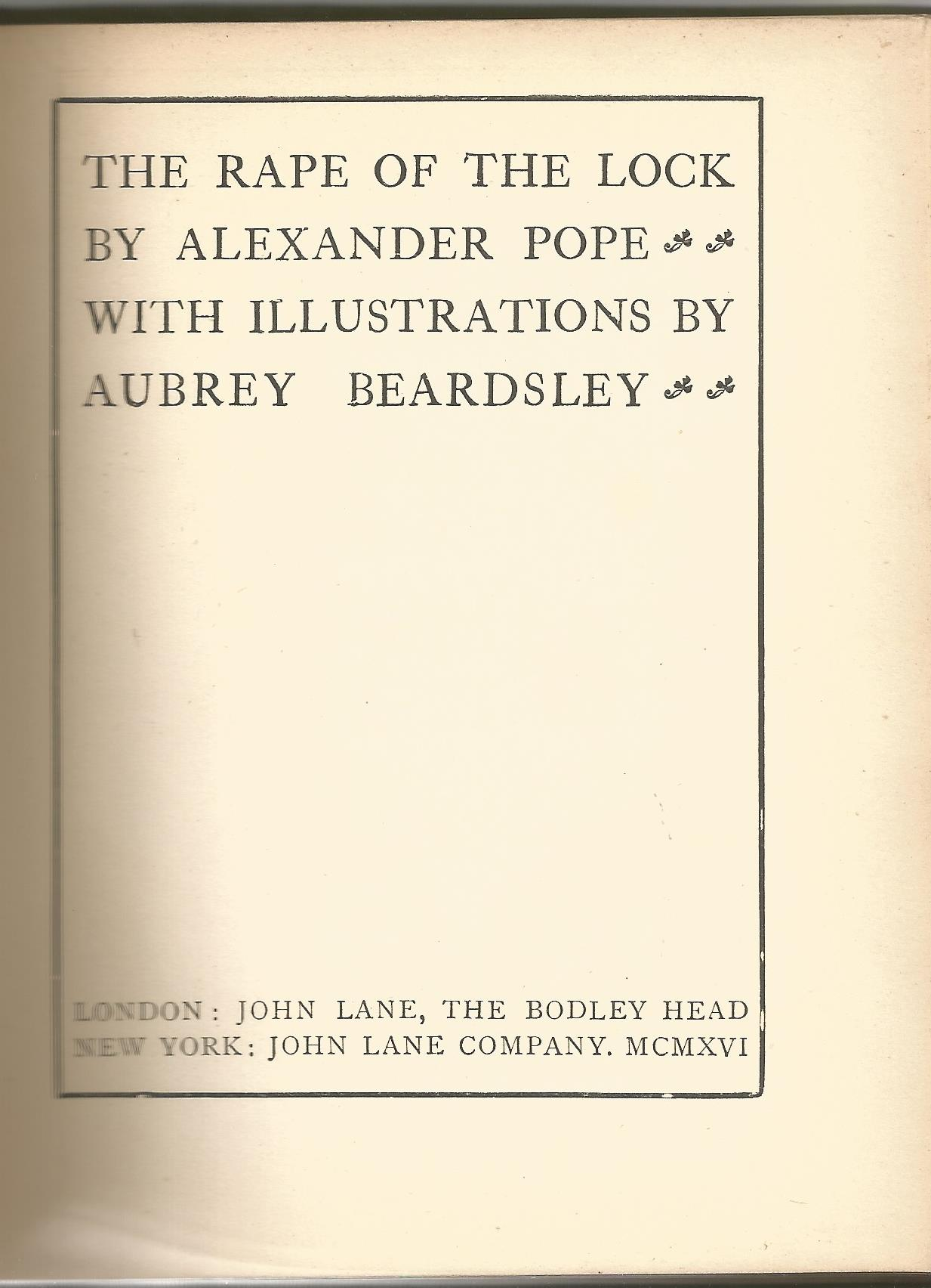 Hardback Book The Rape of The Lock by Alexander Pope Illustrations by Aubrey Beardsley 1916 Second - Image 2 of 3