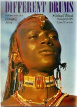 Signed Hardback Book Different Drums Reflections on a changing Africa by Michael Wood with photos by