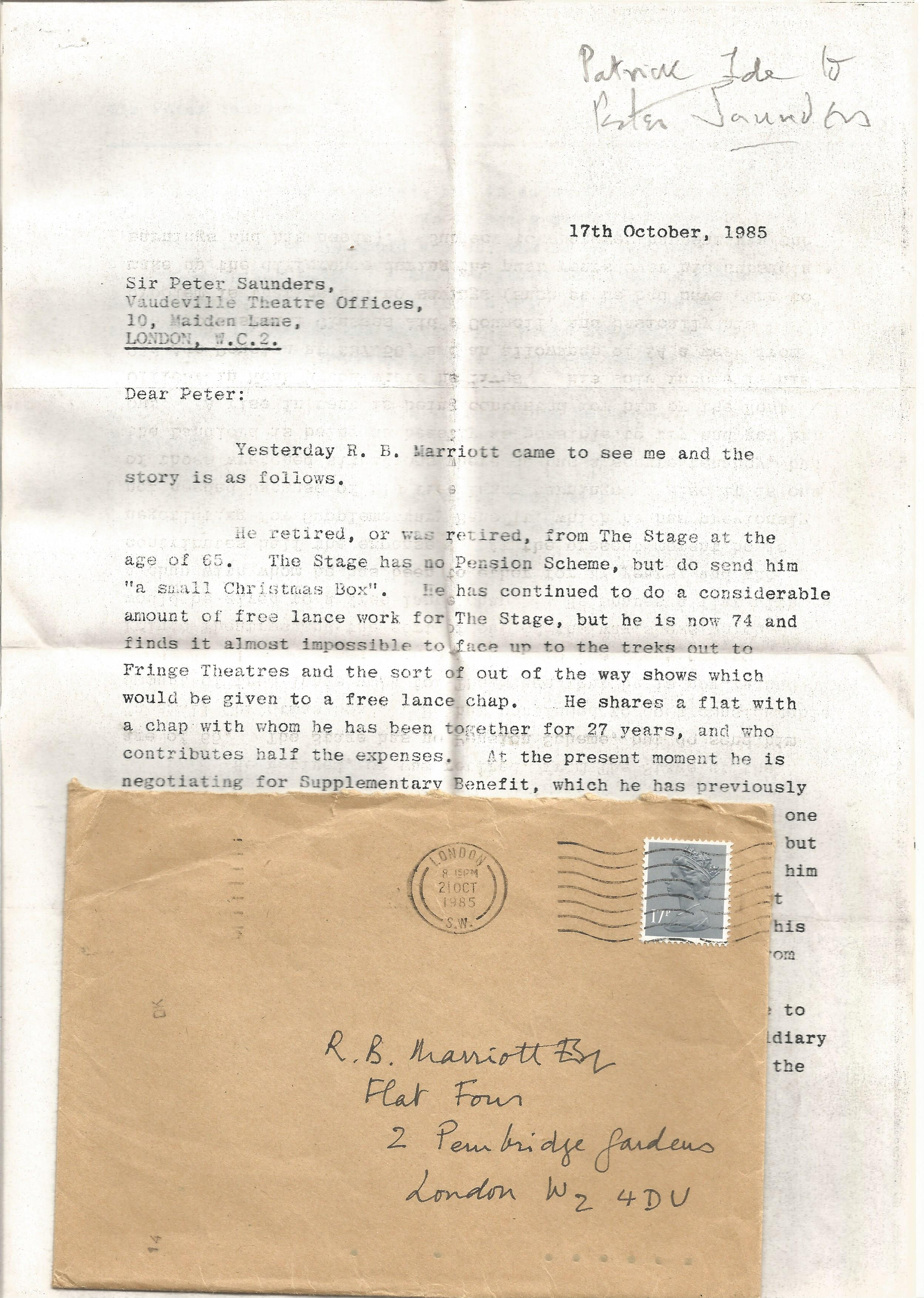 R B Marriott Correspondence collection 8 x Signed letters Margaret Rawlings, 1 Typed letter Sir - Image 3 of 3