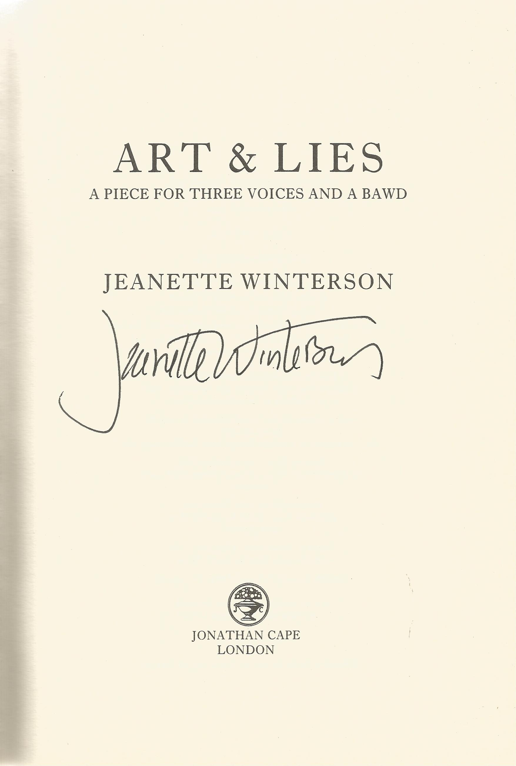 Jeanette Winterson Hardback Book Art & Lies signed by the Author on the Title Page dust cover and - Image 2 of 2