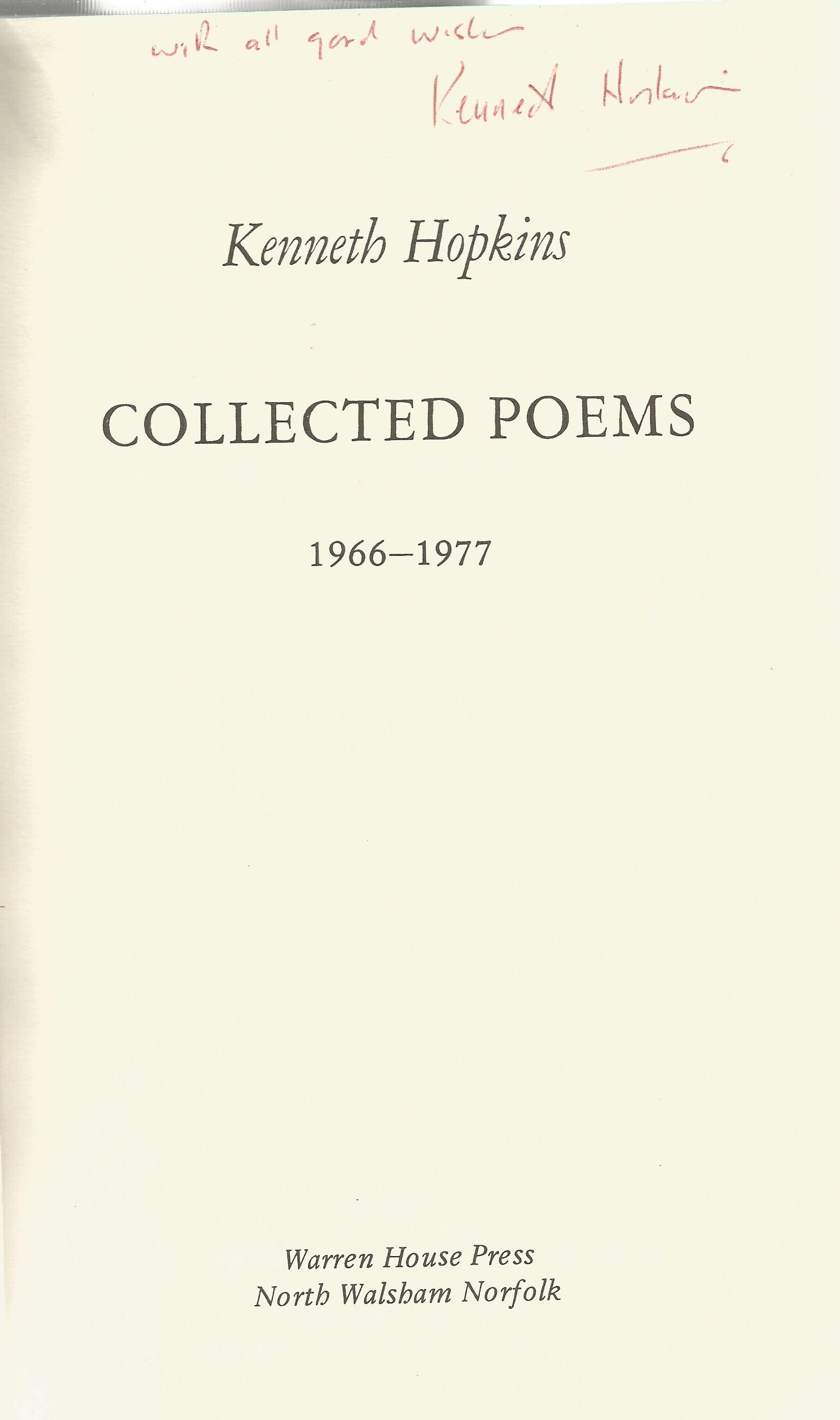 Kenneth Hopkins Hardback Book Collected Poems signed by the Author on the Title Page First Edition - Image 3 of 3