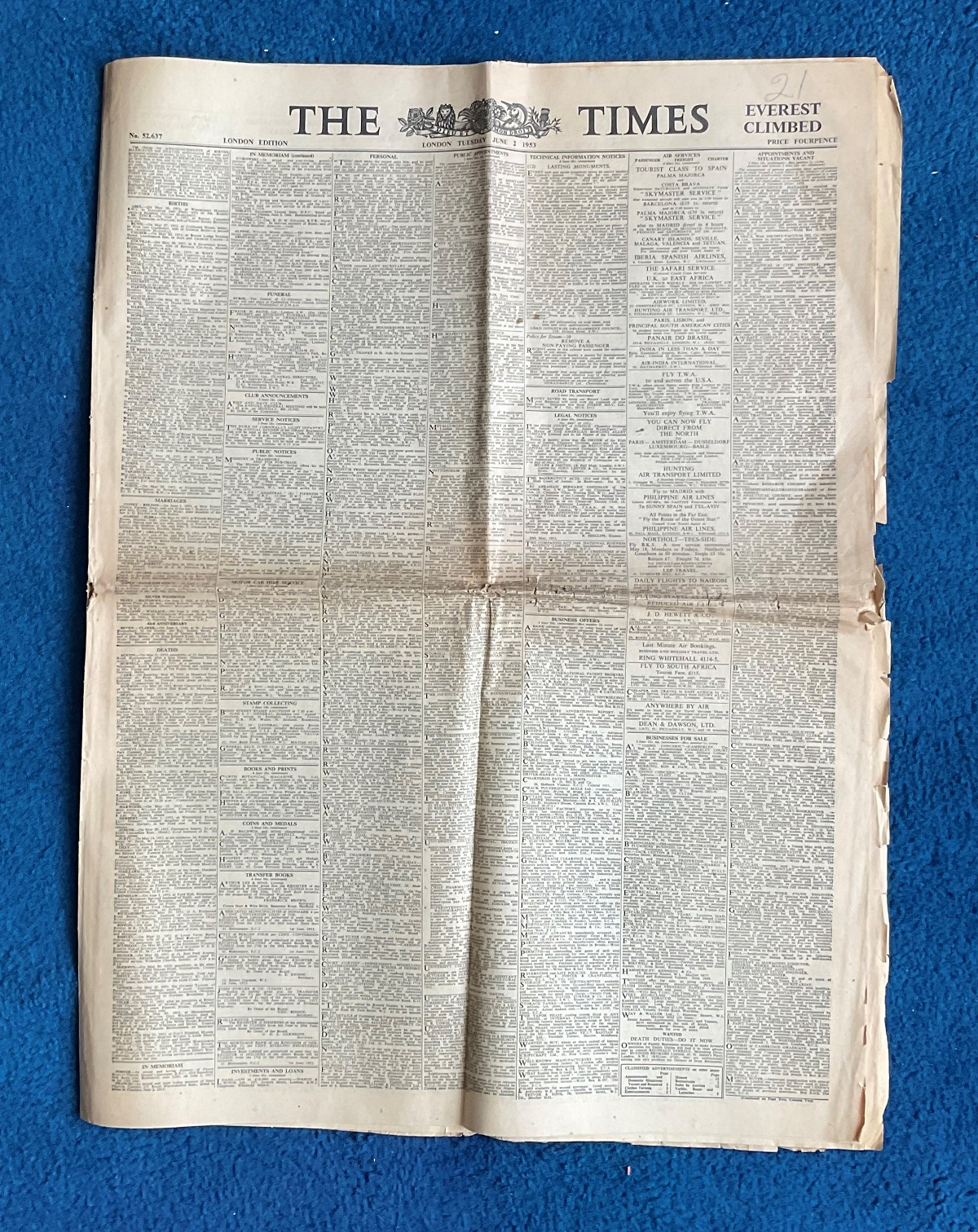 1953 The Times Newspaper June 2nd London Edition Ever Climbed achieved on the 29th of May 1953 by