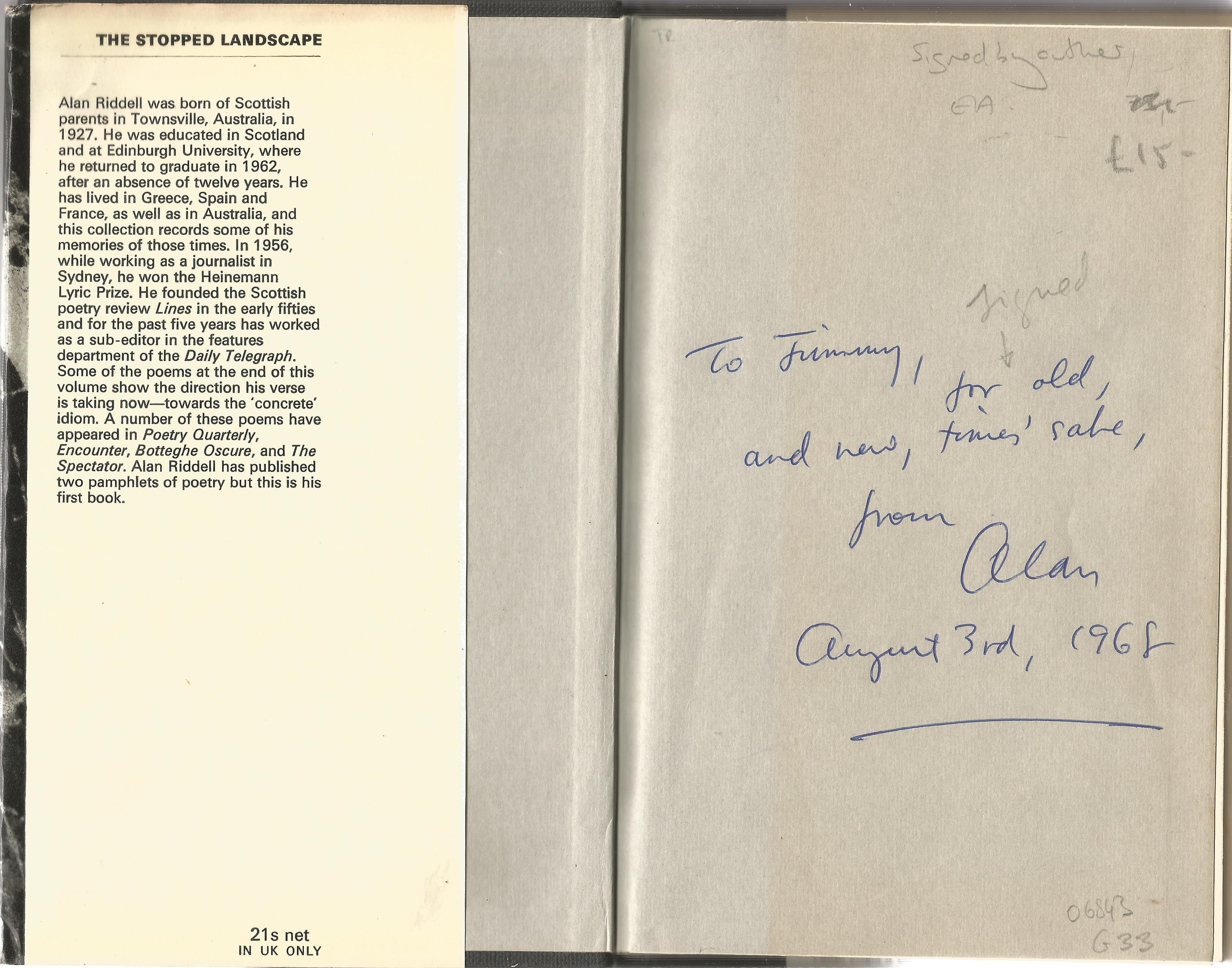 Alan Riddell Hardback Book The Stopped Landscape 1968 signed by the Author on the First Page and - Image 2 of 2