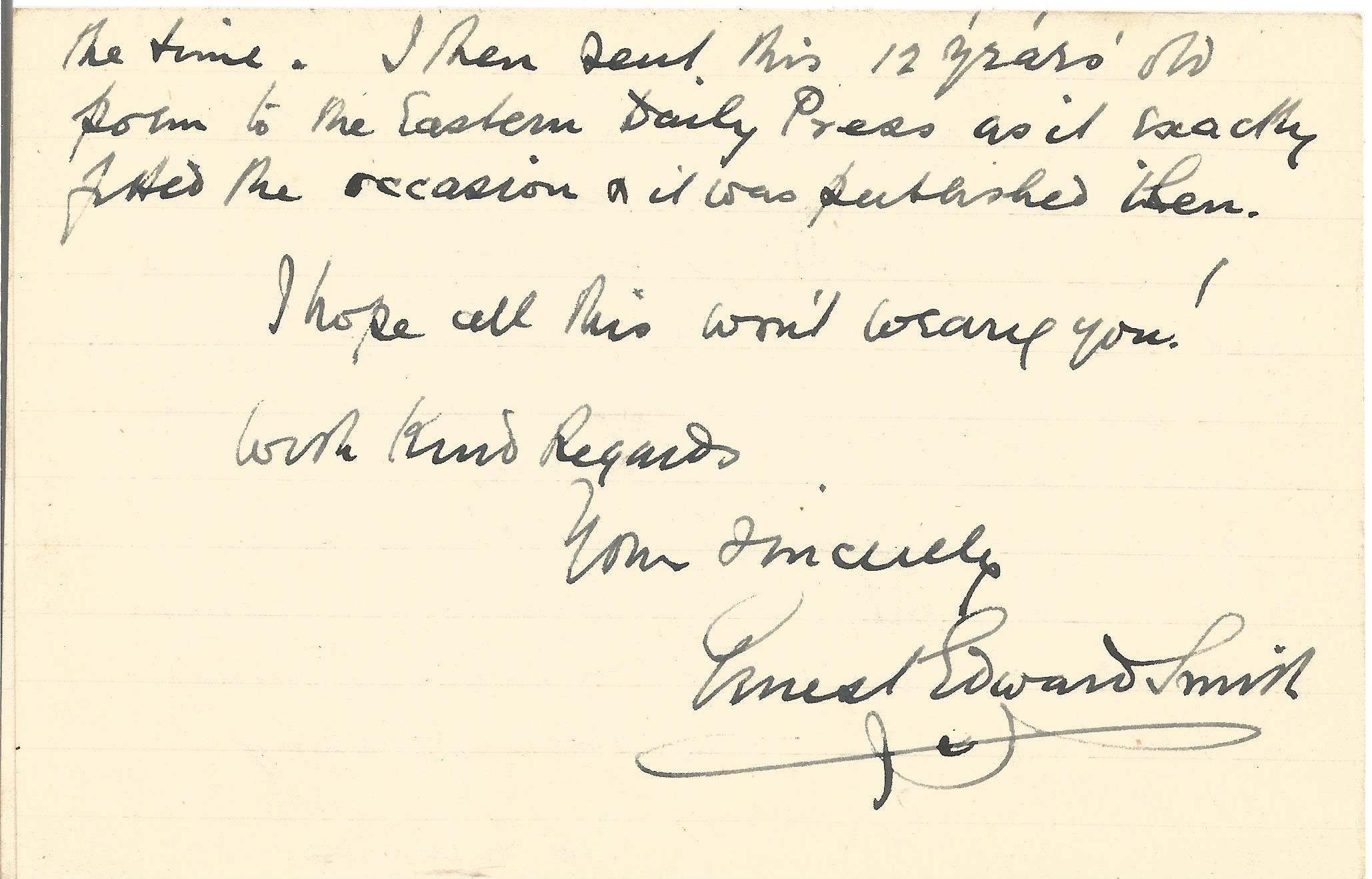 Ern Edward Smith Paperback Book Poems 1925 Unsigned but Includes a Hand Written Letter signed by Ern - Image 2 of 2