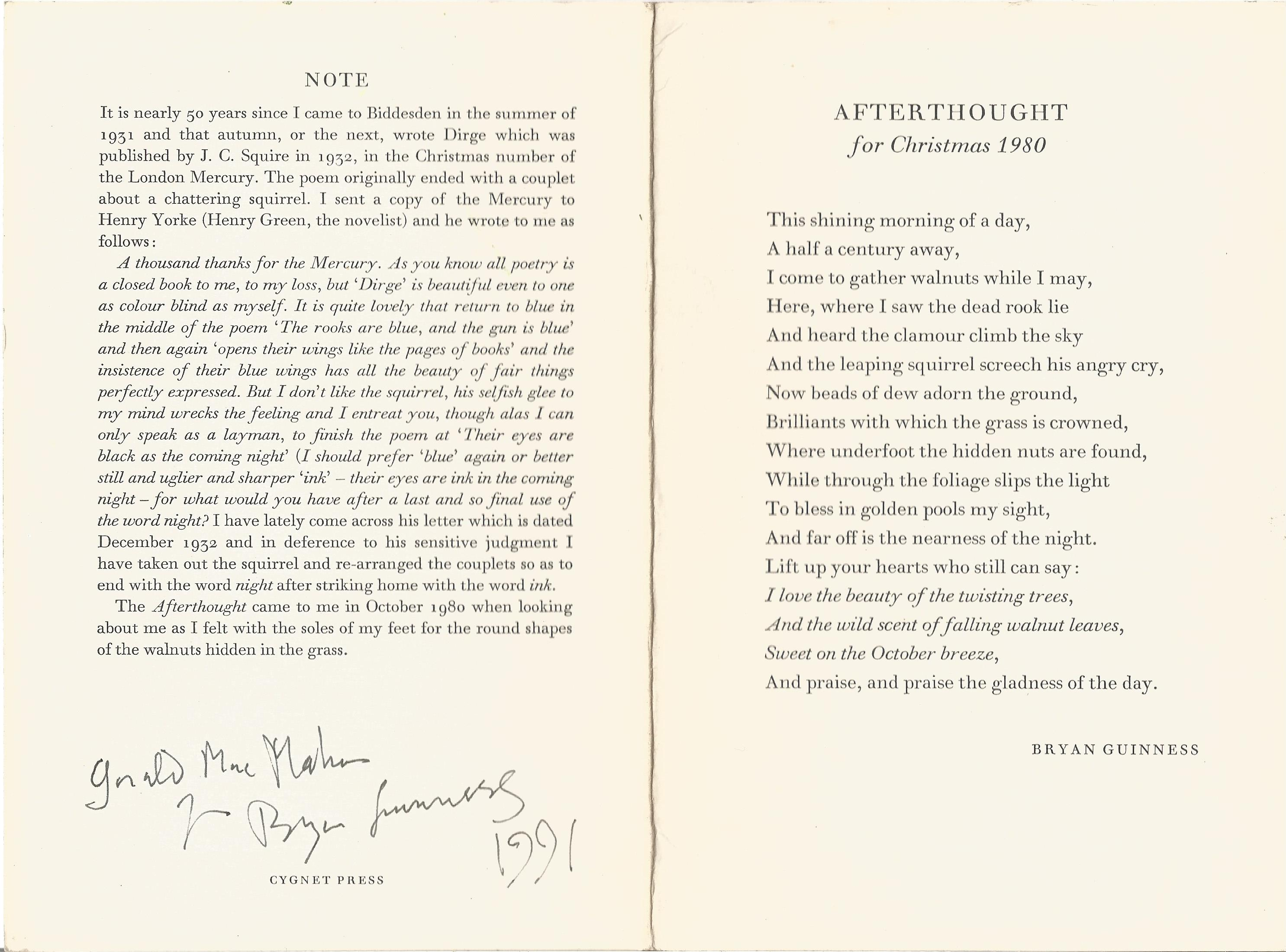 Bryan Guinness collection of three Poems and a note Printed on good Quality Cardboard by Cygnet - Image 2 of 2