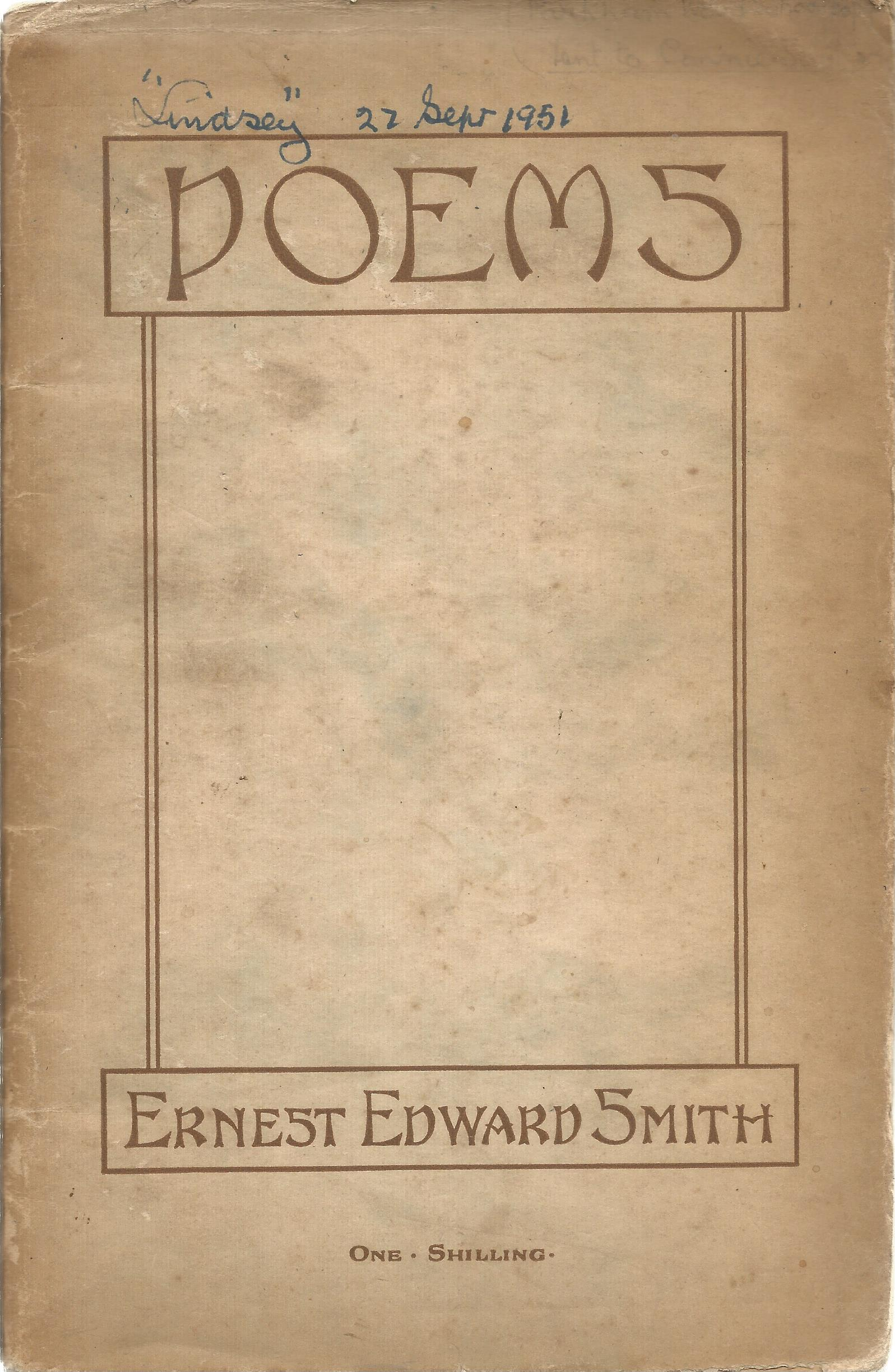 Ern Edward Smith Paperback Book Poems 1925 Unsigned but Includes a Hand Written Letter signed by Ern