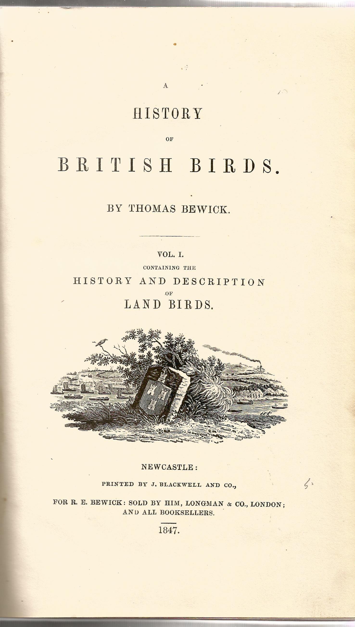 2 Hardback Books Bewick Birds A History of British Birds by Thomas Bewick 1847 Full Leather Bindings - Image 2 of 5
