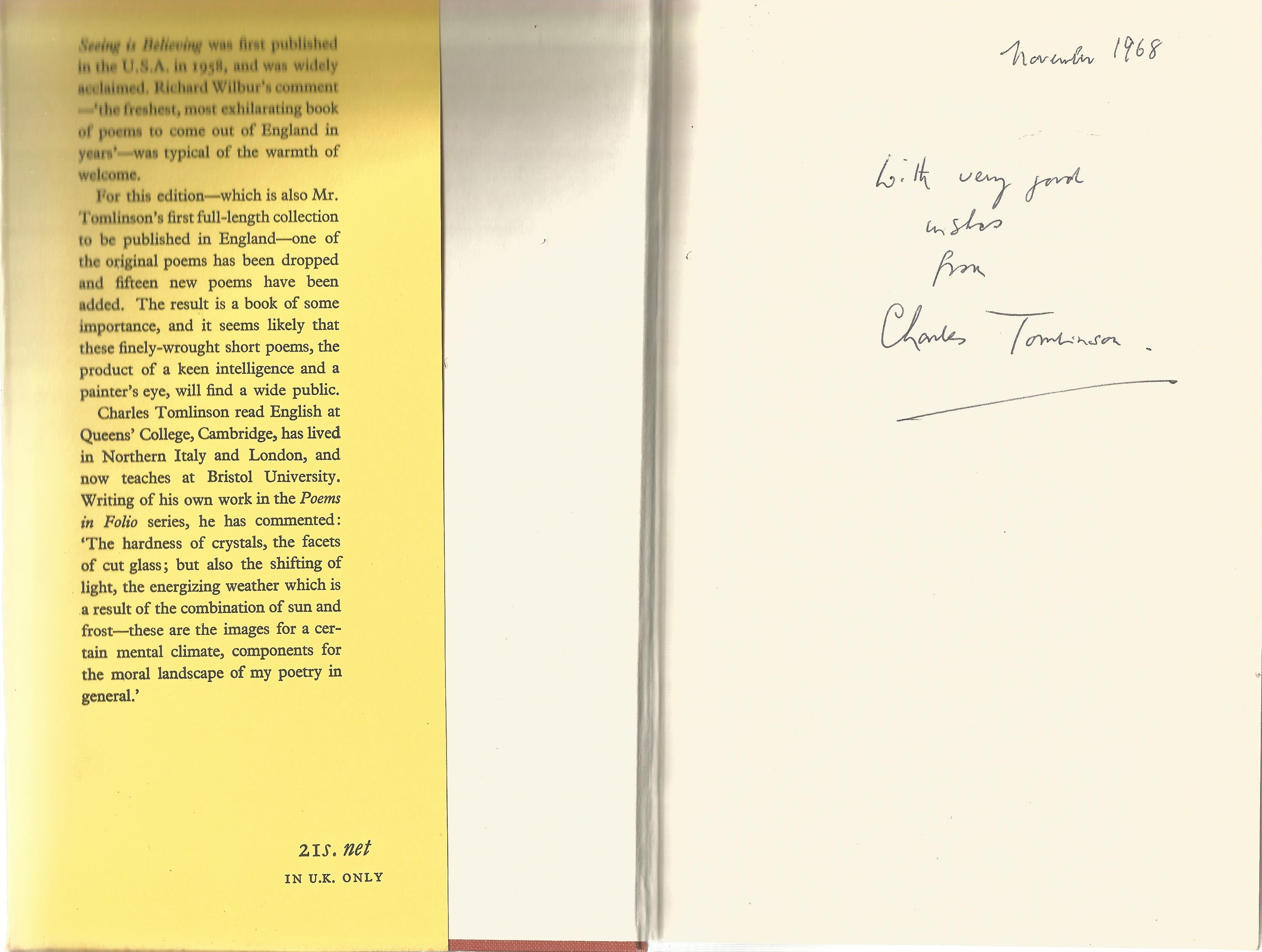 Charles Tomlinson Hardback Book Seeing is Believing signed by the Author on the First Page and dated - Image 2 of 2