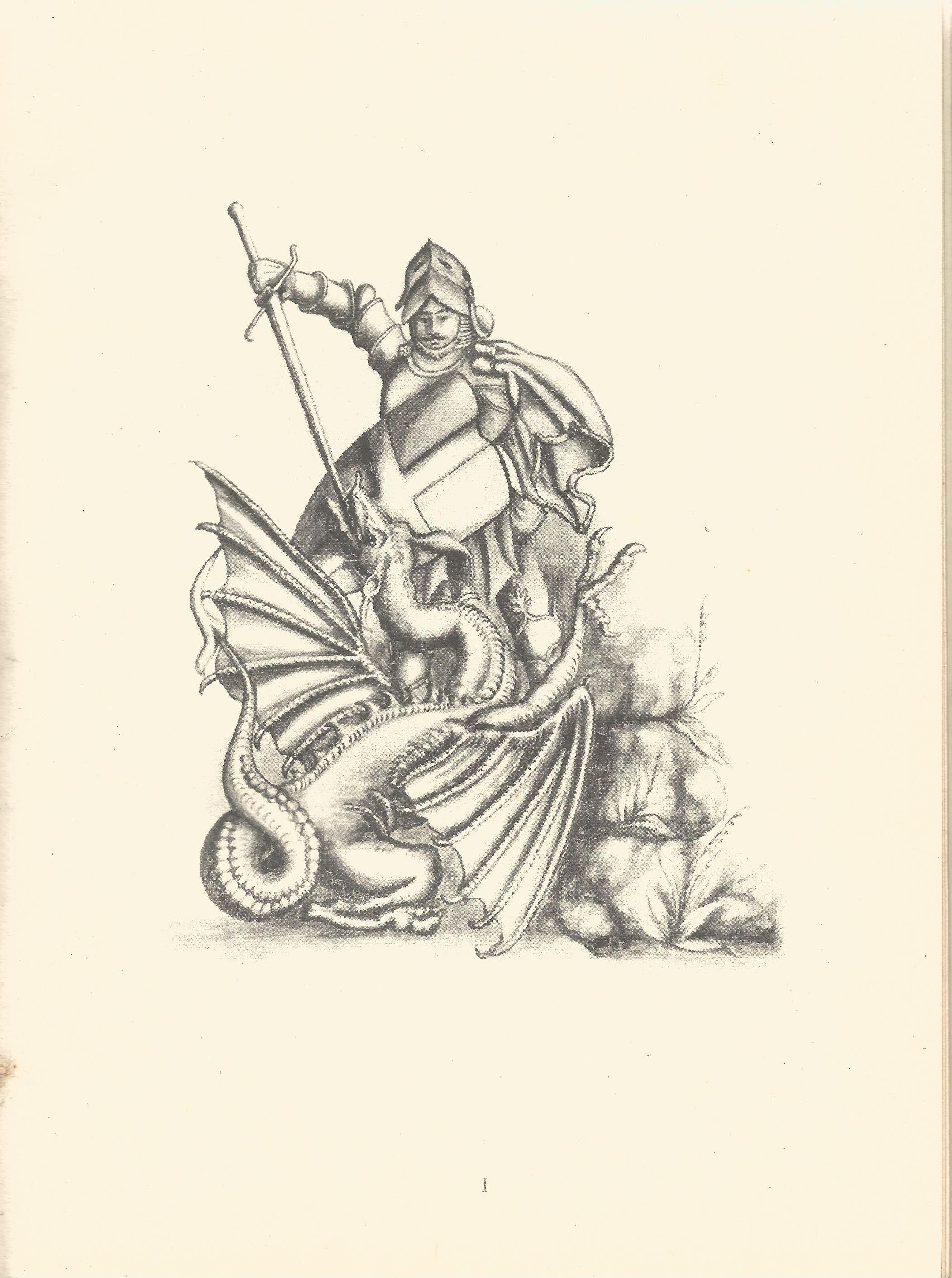 Autograph Album with Printed Pencil Drawings George & Dragon, Heraldic Emblems, Building & Masonic - Image 5 of 8