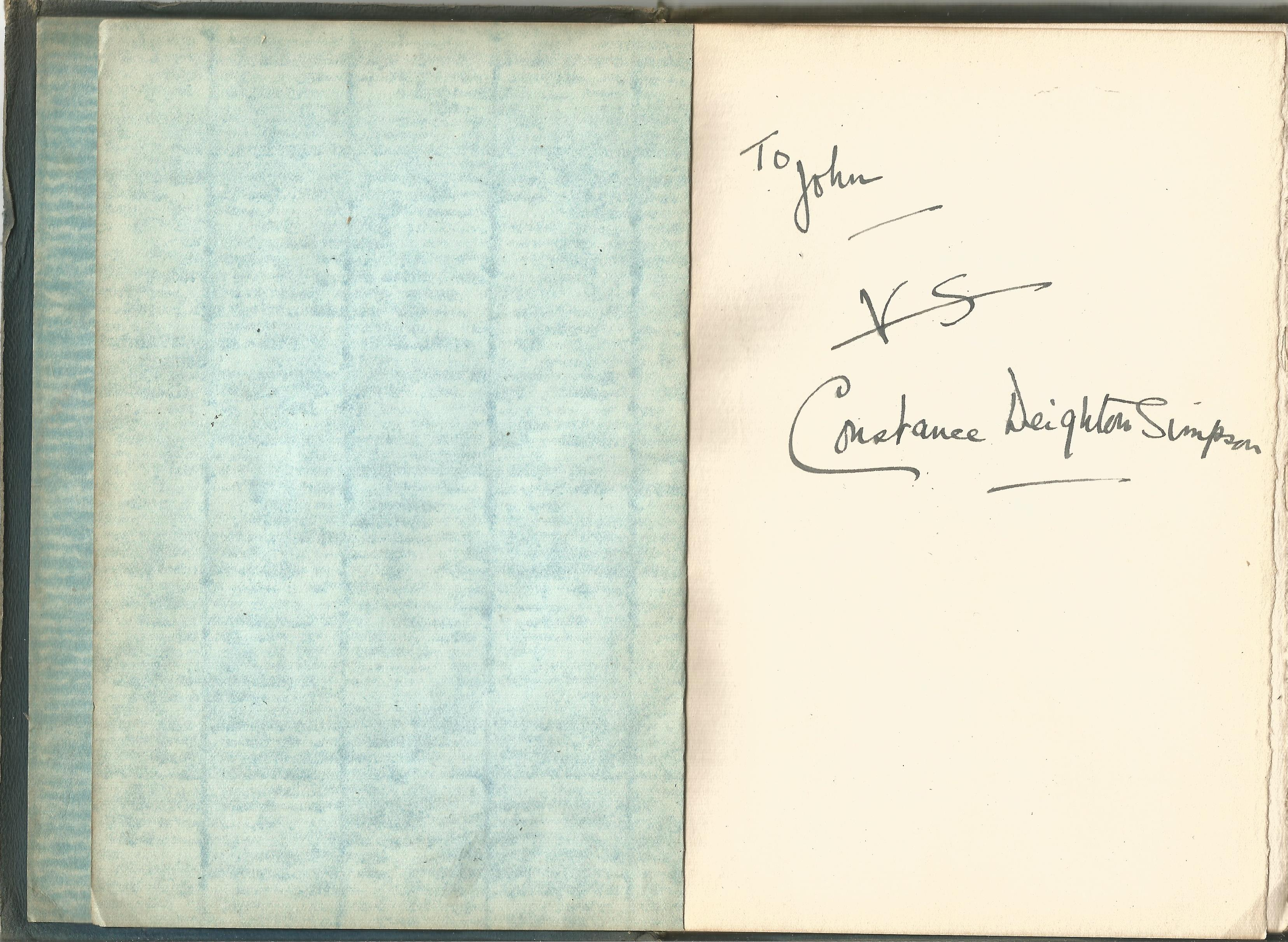 Constance Deighton Simpson Rare Suedex Cloth backed Book with Gold Lettering Poems and Sonnets - Image 2 of 2