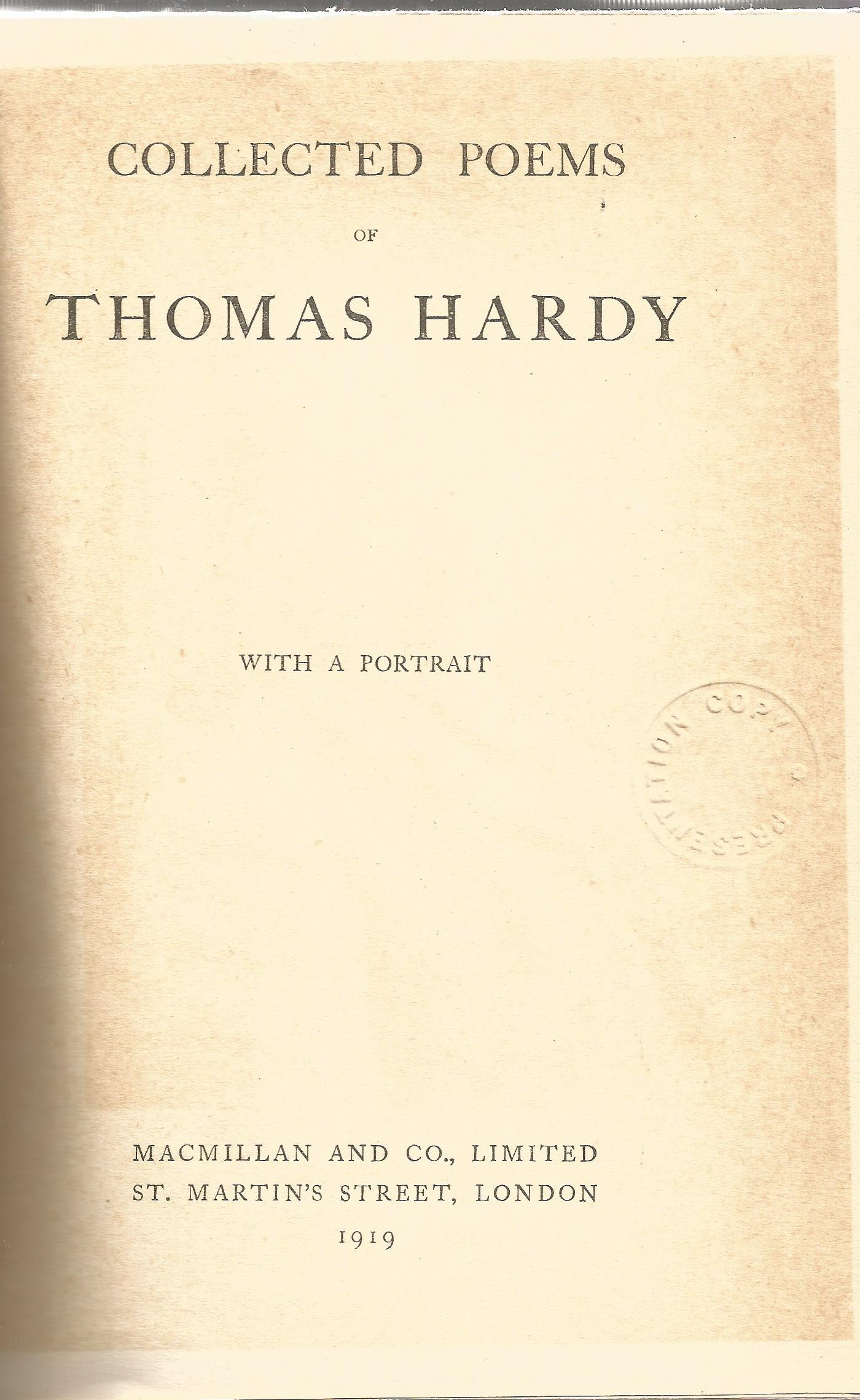 Hardback Book Collected Poems of Thomas Hardy with a Portrait 1919 First Edition published by - Image 2 of 3