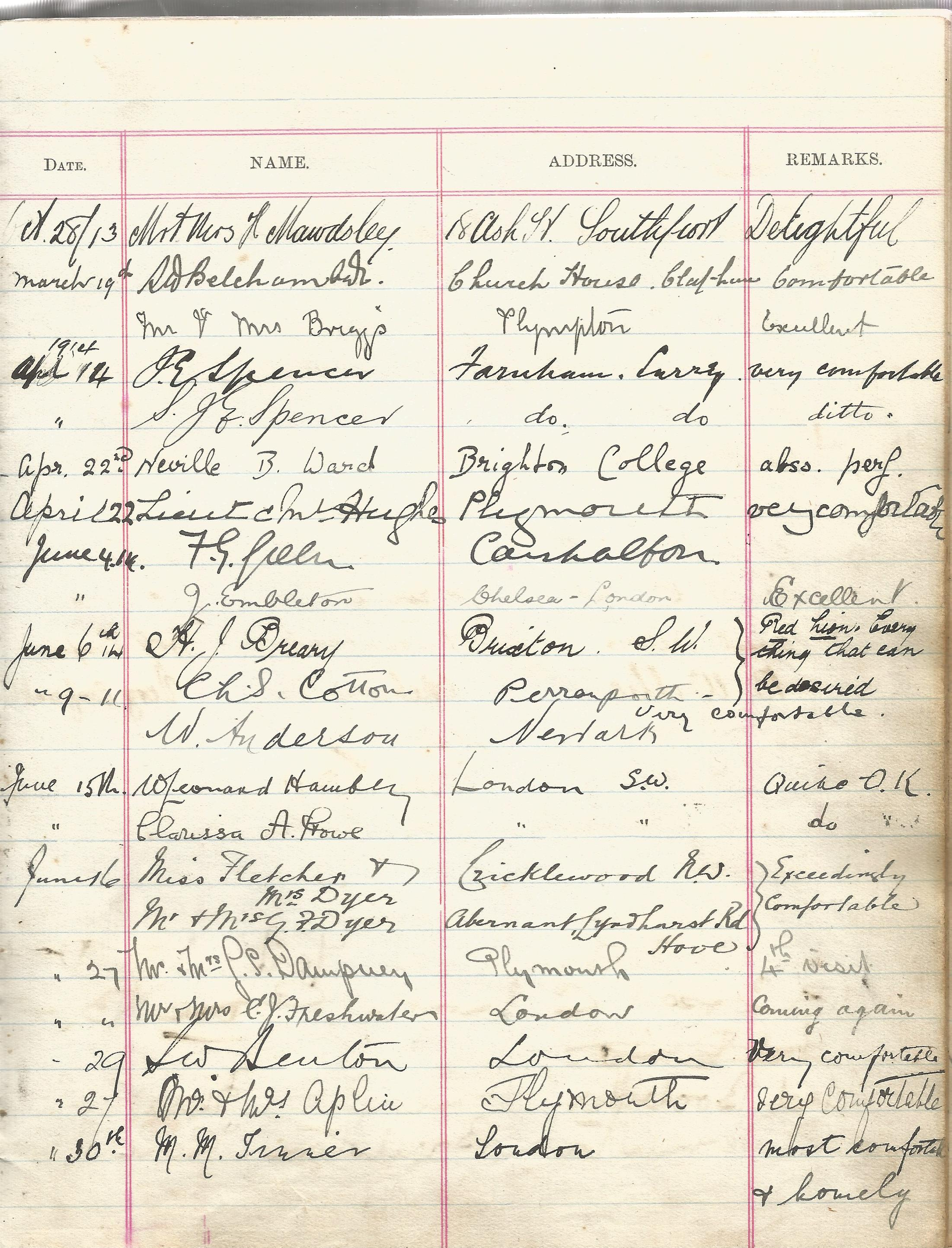 Visitors Book Red Lion Hotel Newquay with dates and Name & Address of their guests 1903 1930 at - Image 4 of 8