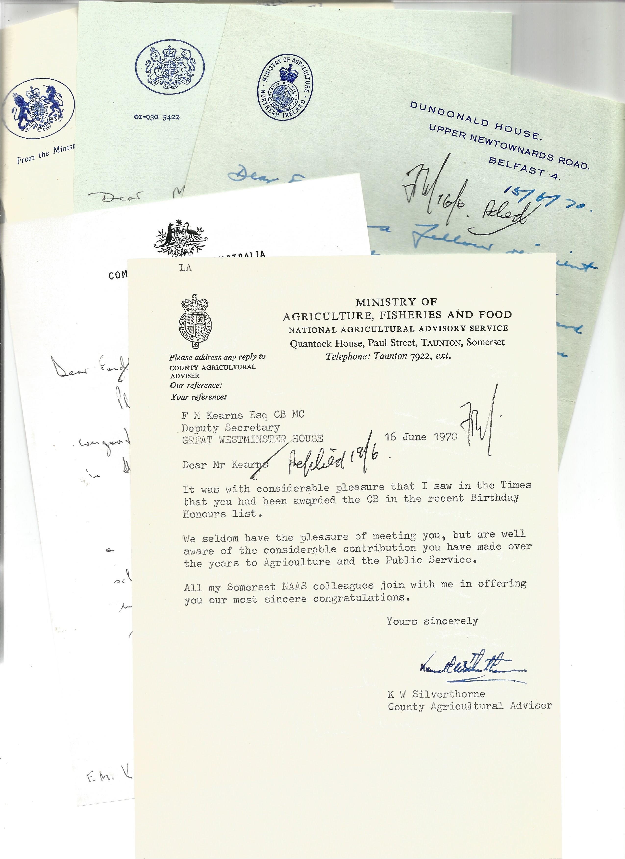 Correspondence collection of mostly signed letters to Mr F Kearns congratulating Him for receiving a - Image 3 of 5