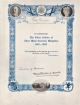 Certificate to Commemorate The Silver Jubilee of King George V & Queen Mary 1910 1935 printed