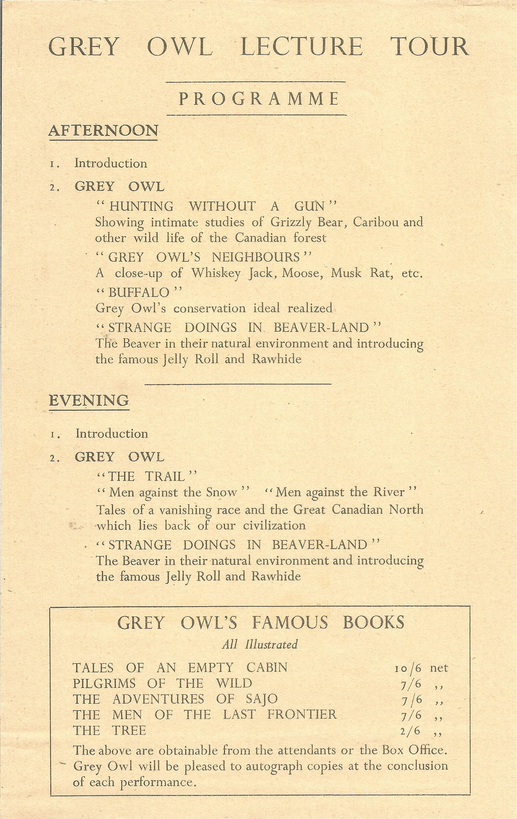 Hardback Book A Book of Grey Owl by E. E. Reynolds 1938 First Edition plus Souvenir Grey Owl Booklet - Image 7 of 7
