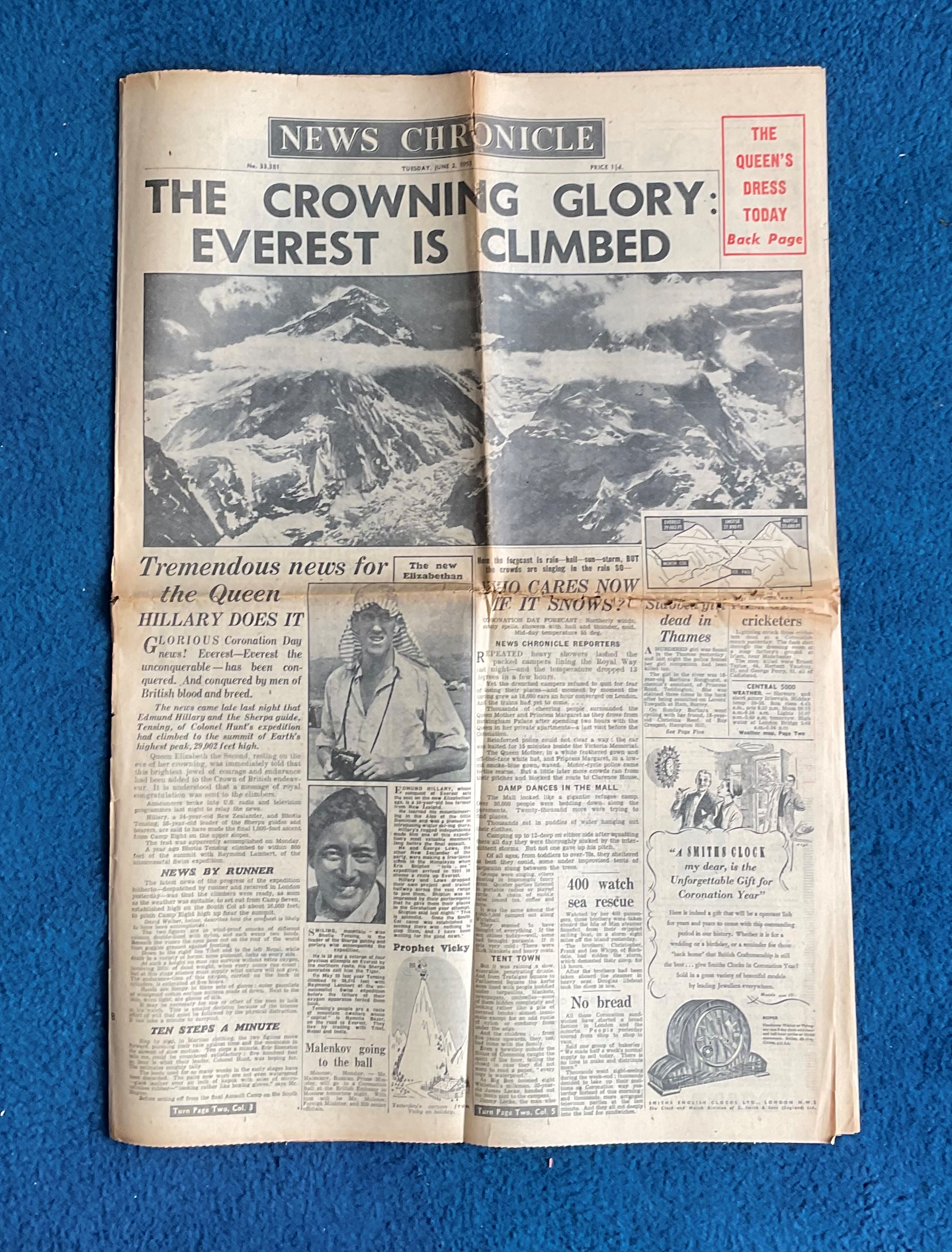 1953 News Chronicle The Crowning Glory Ever is Climbed Celebrating the 29,000 Foot Ascent of Ever,