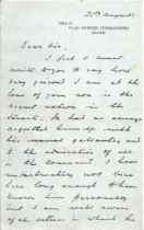 Signed Hand written letter from Admiral Sir Henry Daniel Pridham Wippell Sympathising for the loss
