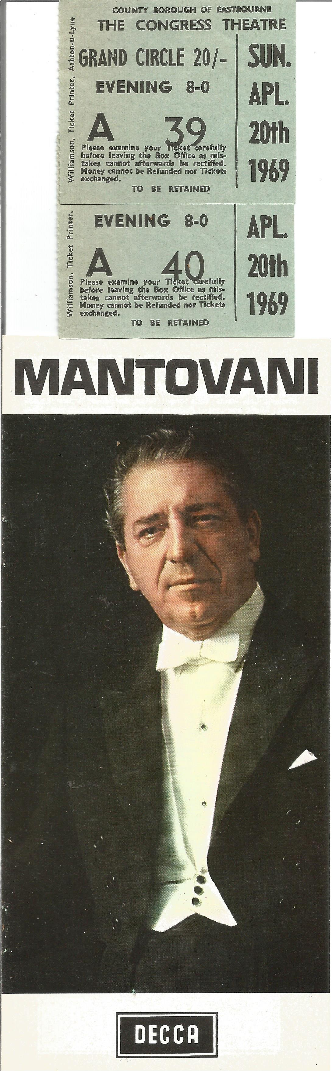 Signed Mantovani In House Brochure 1969 from a performance at Eastbourne Ticket stubs & Decca - Image 4 of 4