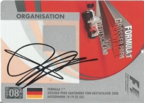 F1 Sebastian Vettel signed 2008 German GP Plastic Pass approx. 6 x 4 inches.