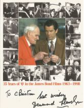 Desmond Llewelyn Q James Bond signed 8 x 6 inch montage photo to Christian