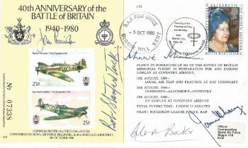 1980 40th Anniversary Battle Of Britain Cover Signed top Five fighter aces