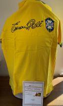 Football Brazil Edson Pele Signed Replica Brazil Football Shirt