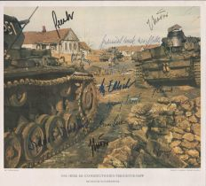 German Panzer Heroes multiple signed WW2 Print 20 autographs.
